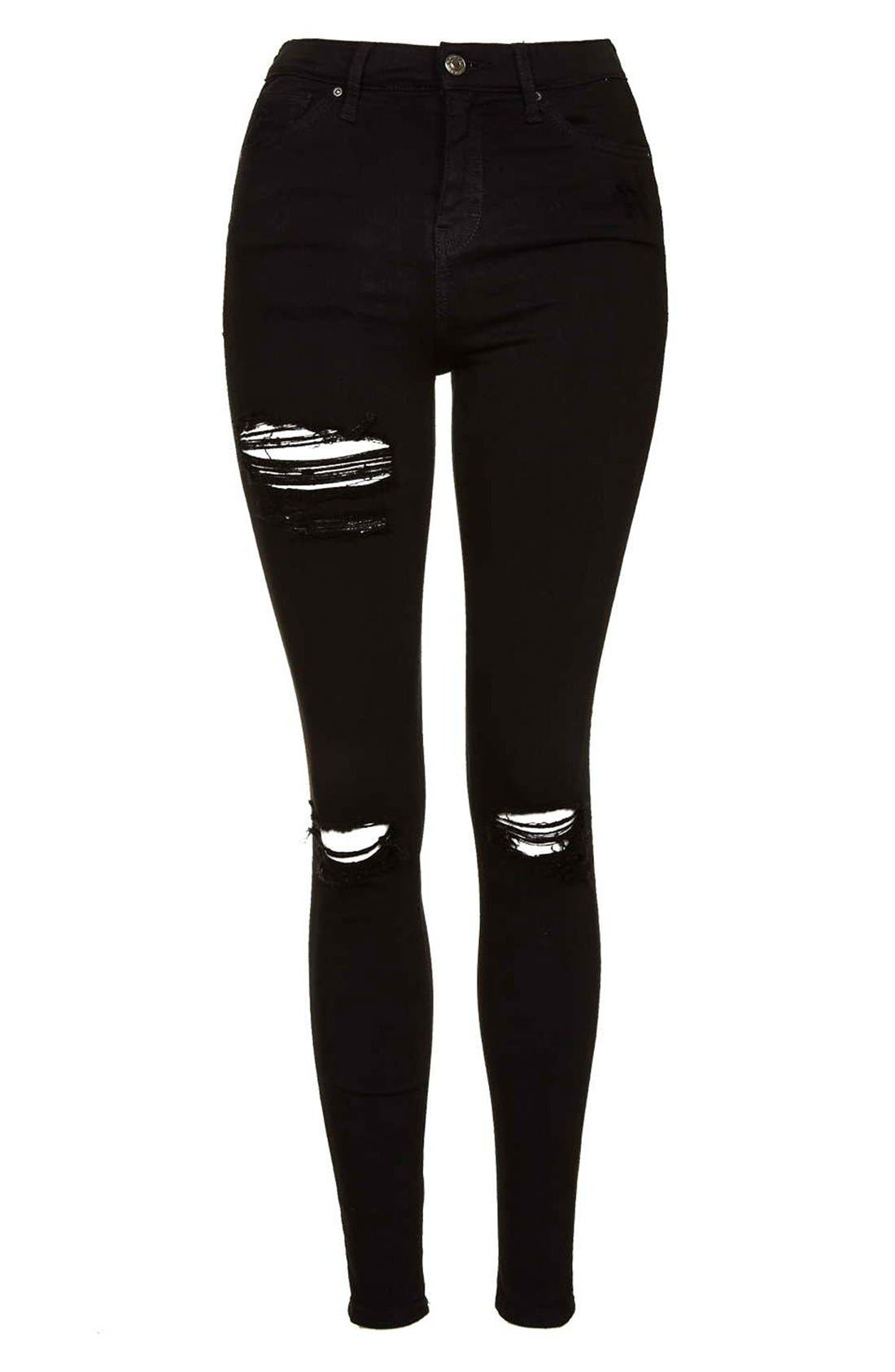 TOPSHOP, Ripped High Waist Ankle Skinny Jeans, Alternate thumbnail 10, color, 001