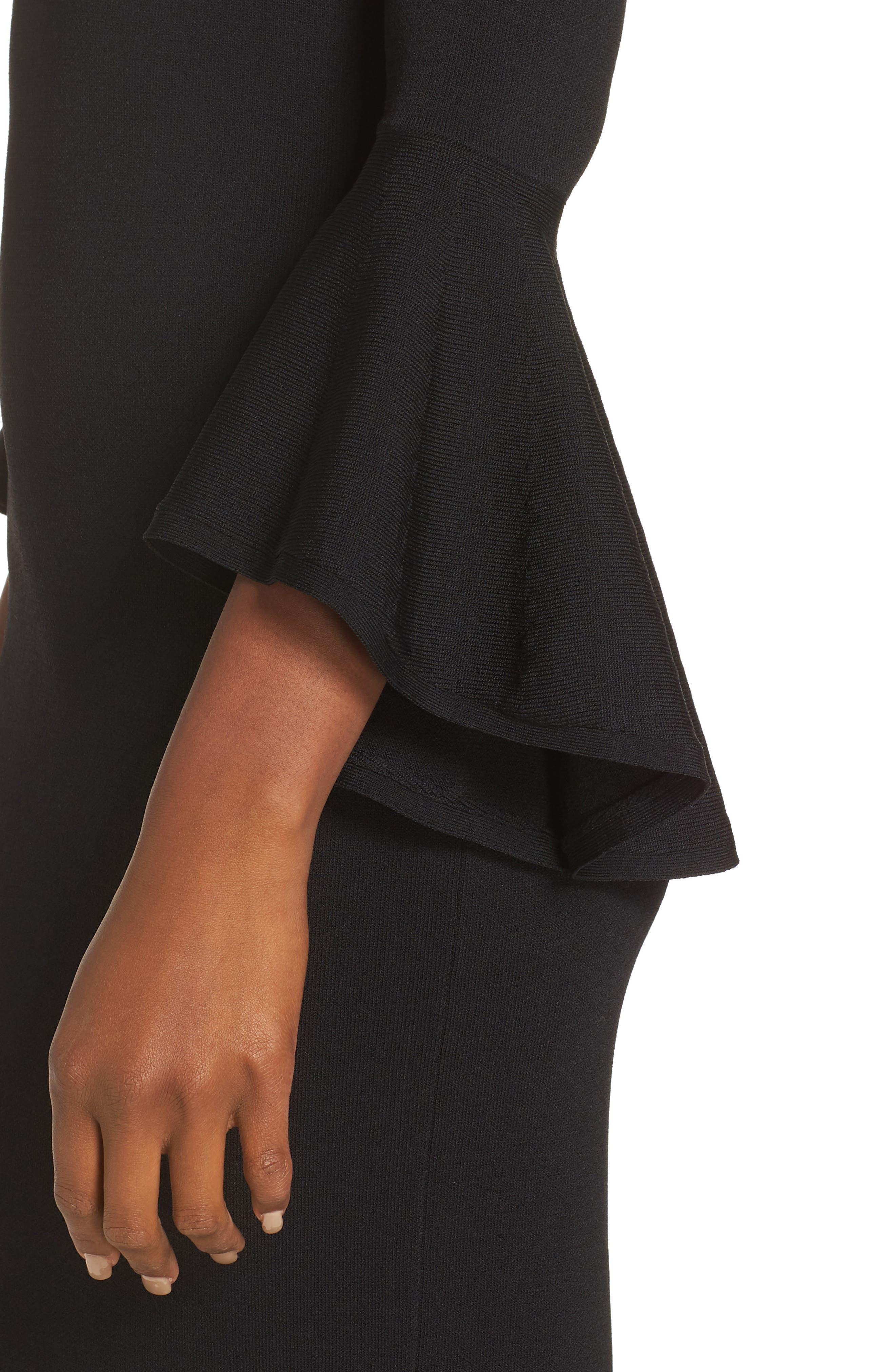 ELIZA J, Bell Sleeve Sheath Dress, Alternate thumbnail 5, color, BLACK