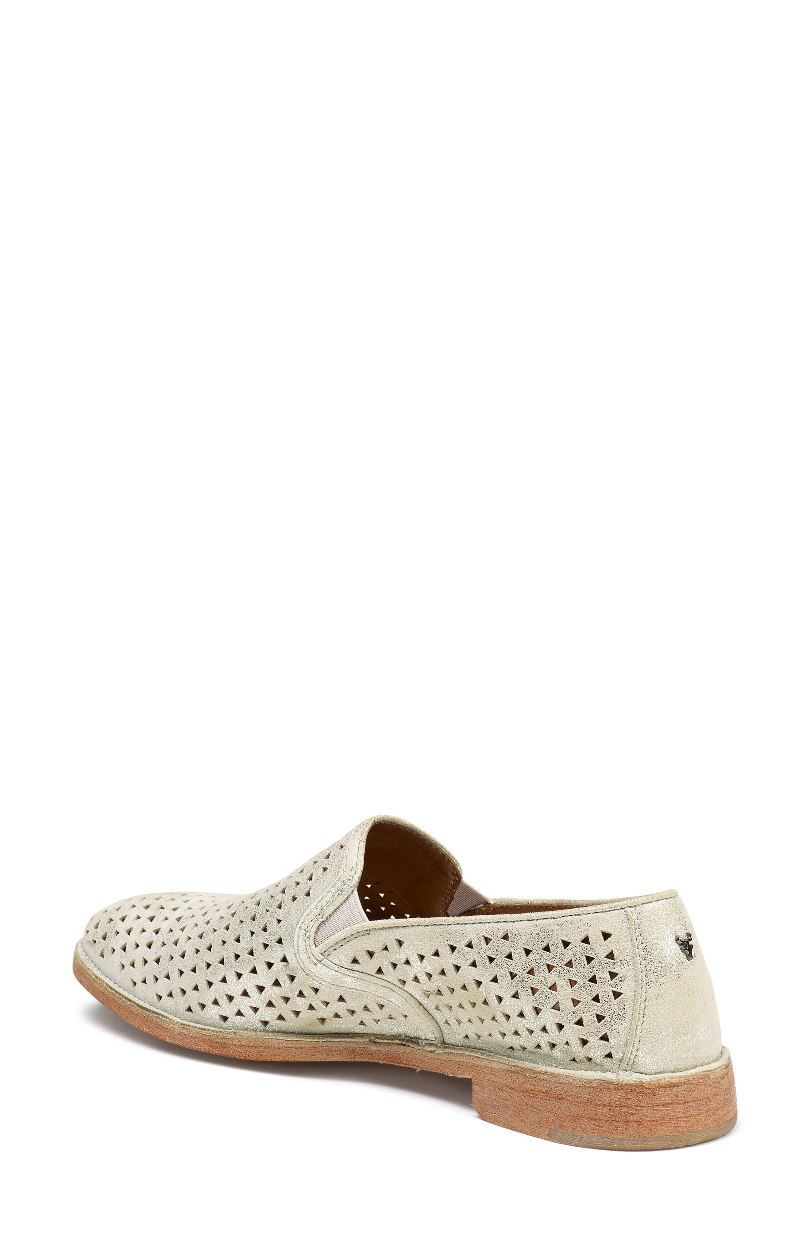 TRASK, Ali Perforated Loafer, Alternate thumbnail 2, color, IVORY METALLIC SUEDE