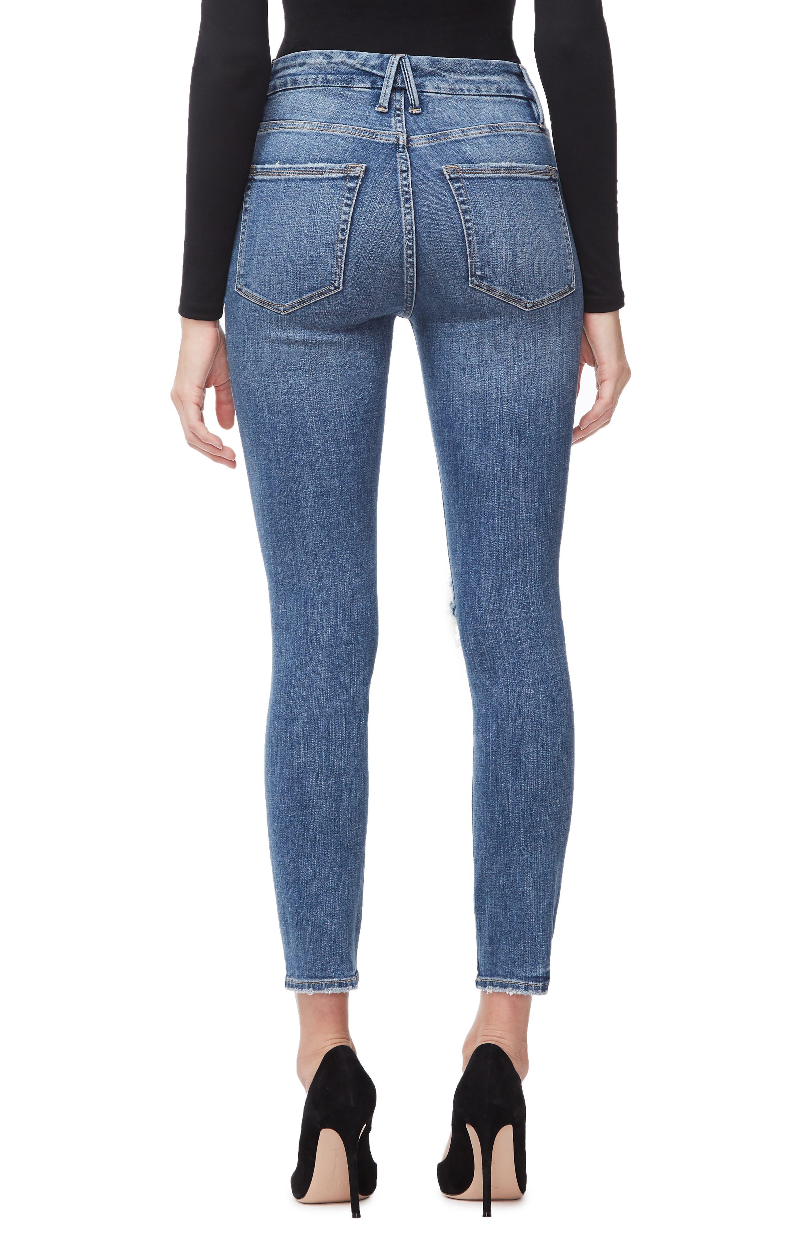 GOOD AMERICAN, Good Legs High Waist Crop Skinny Jeans, Alternate thumbnail 4, color, BLUE 261