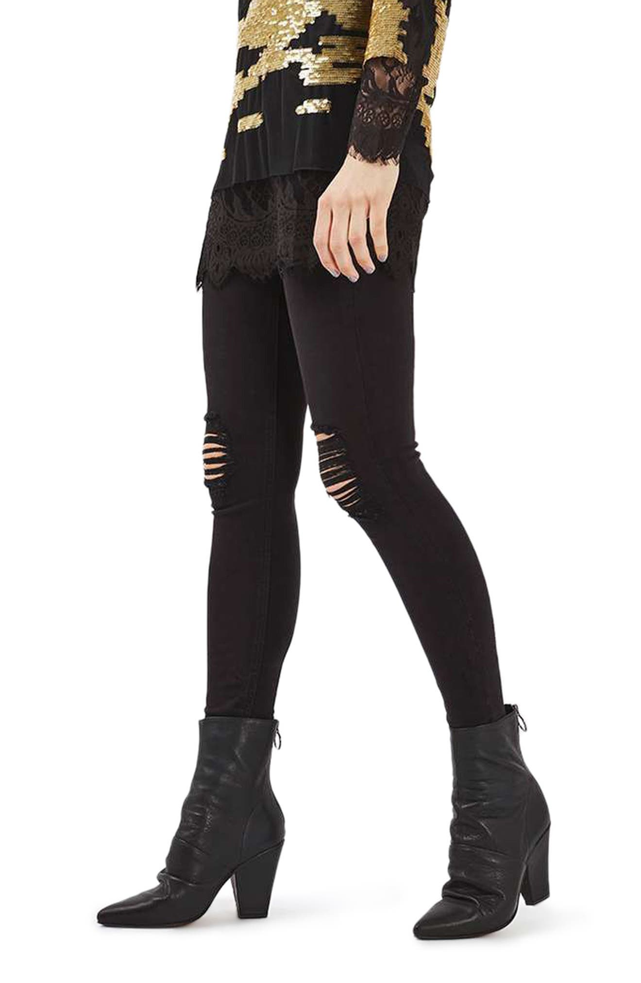 TOPSHOP, Ripped High Waist Ankle Skinny Jeans, Alternate thumbnail 5, color, 001