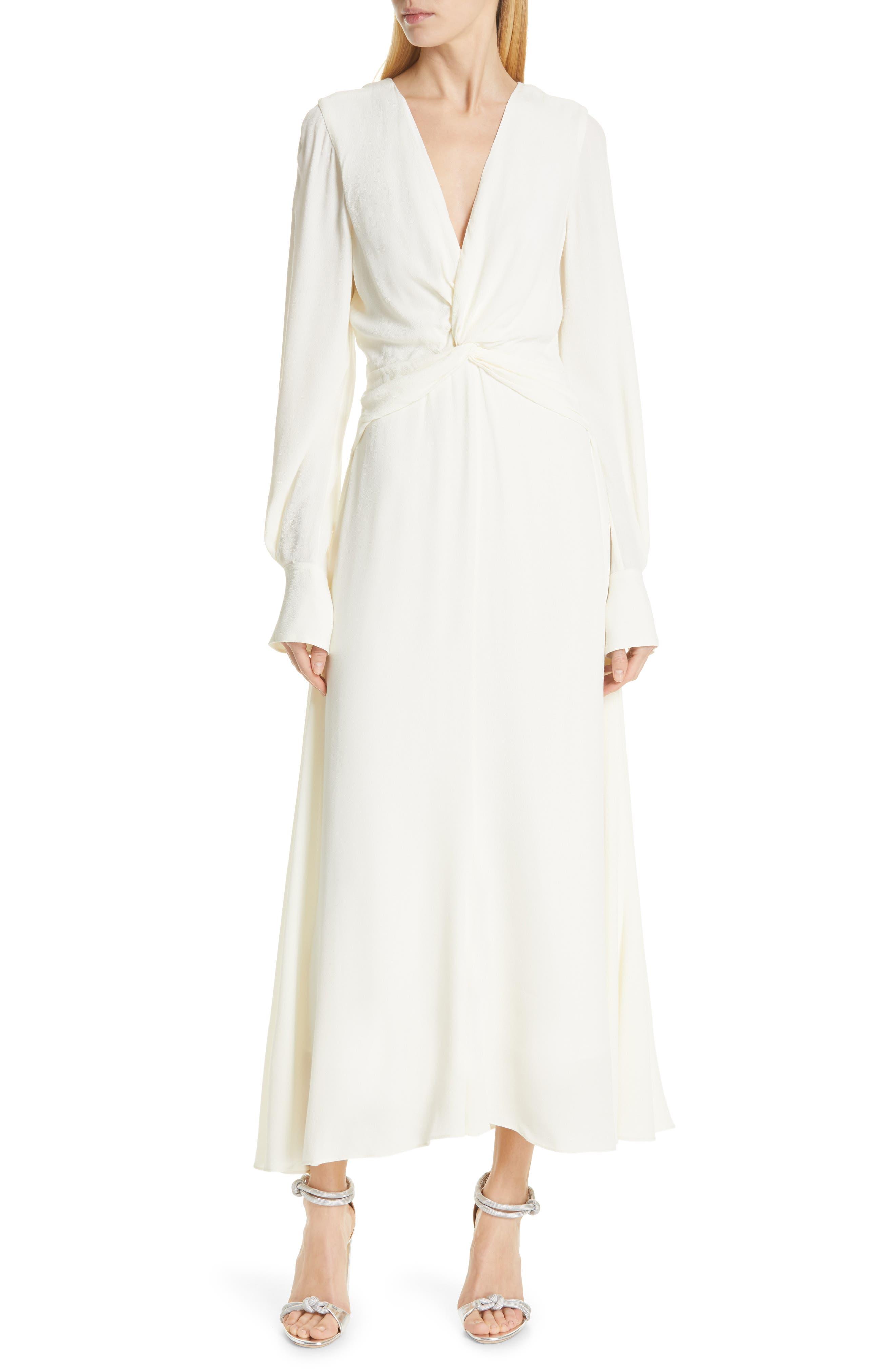 EQUIPMENT, Faun Twist Front Dress, Main thumbnail 1, color, NATURE WHITE