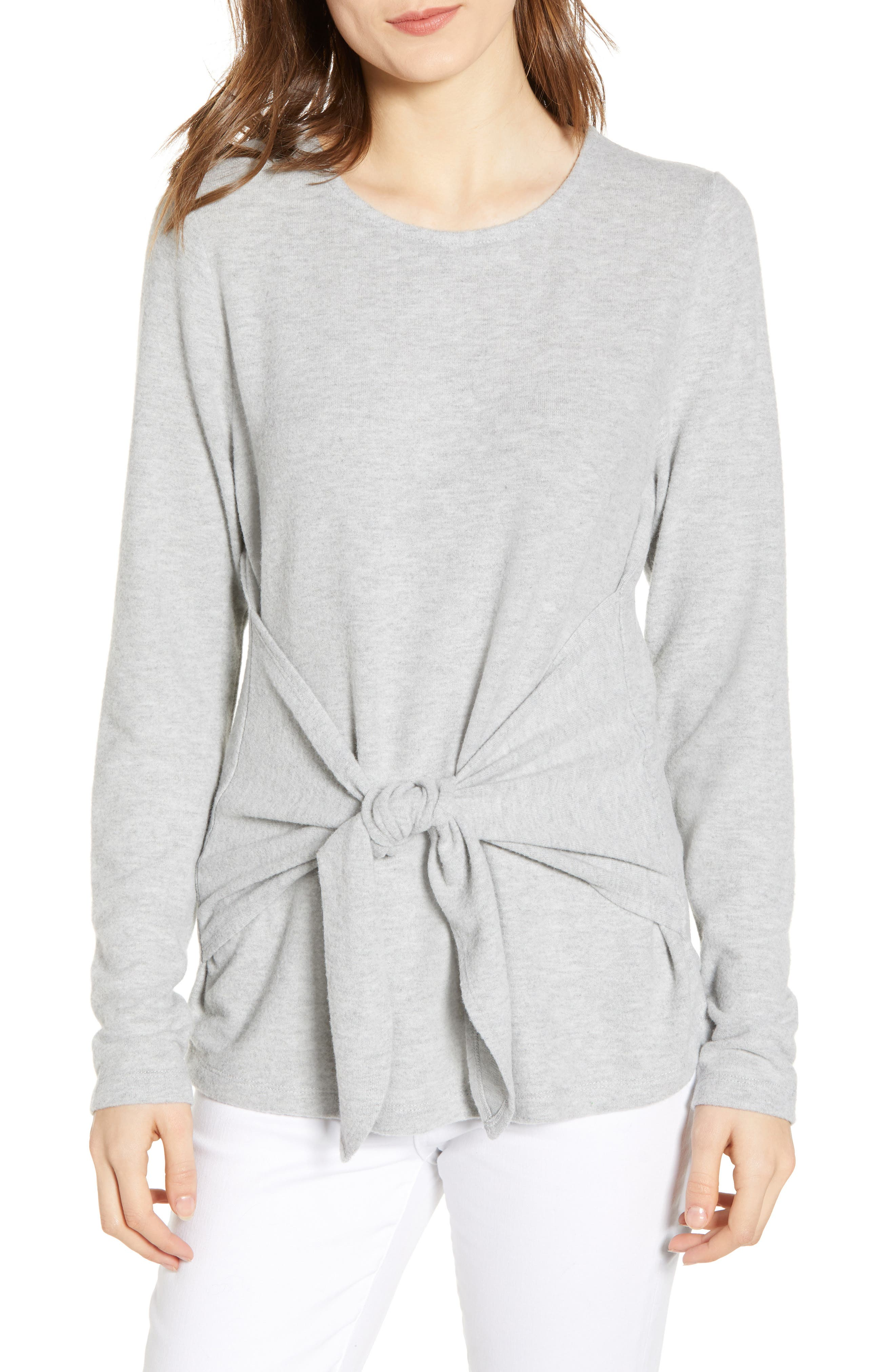 SOCIALITE, Tie Front Top, Main thumbnail 1, color, HEATHER GREY
