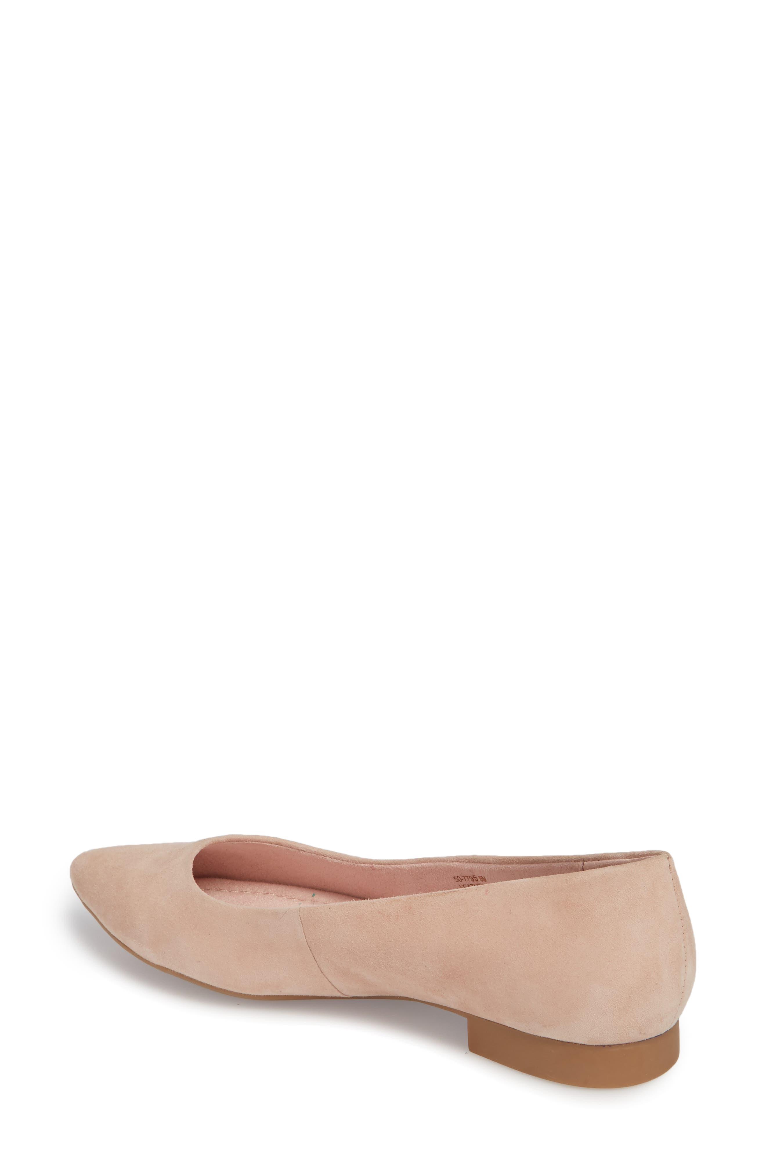 BELLA VITA, 'Vivien' Pointy Toe Flat, Alternate thumbnail 2, color, BLUSH SUEDE