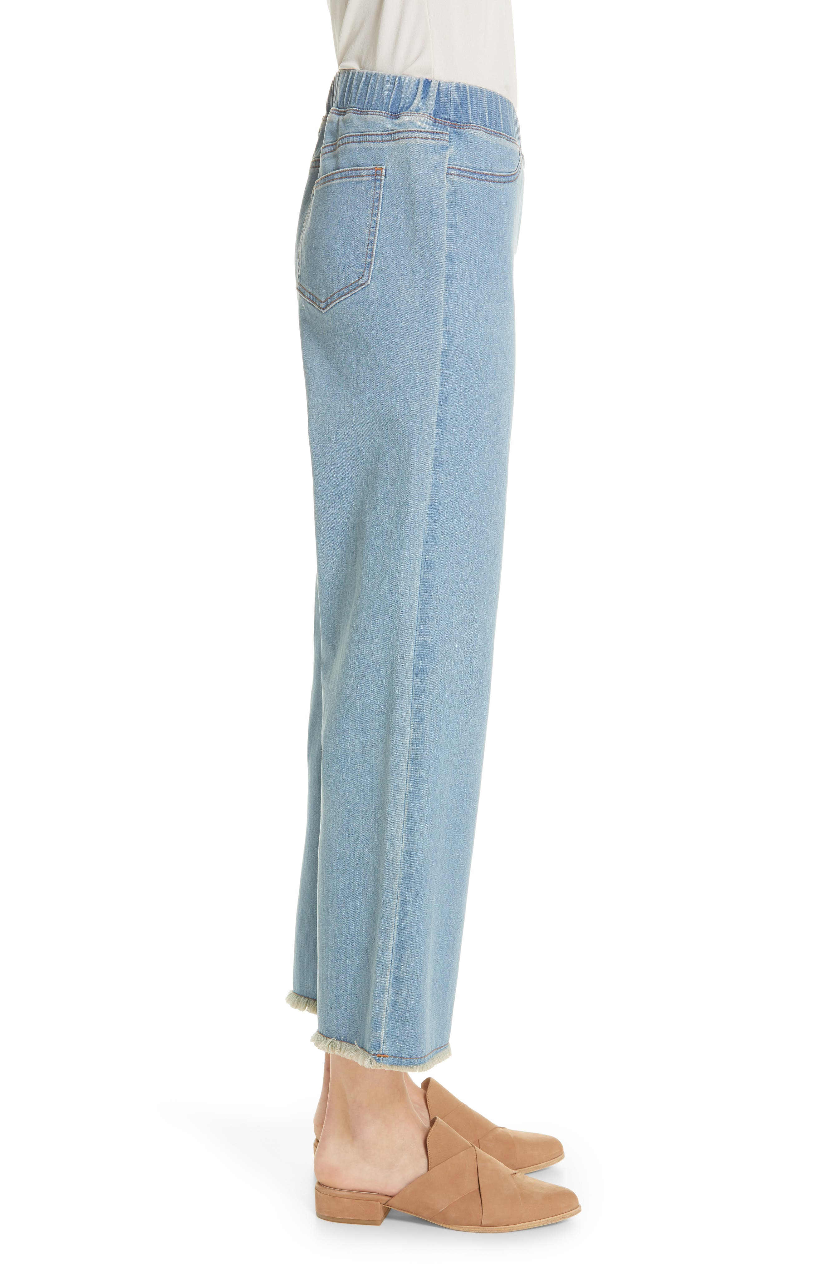 EILEEN FISHER, Frayed Hem Pull-On Ankle Jeans, Alternate thumbnail 4, color, FROST