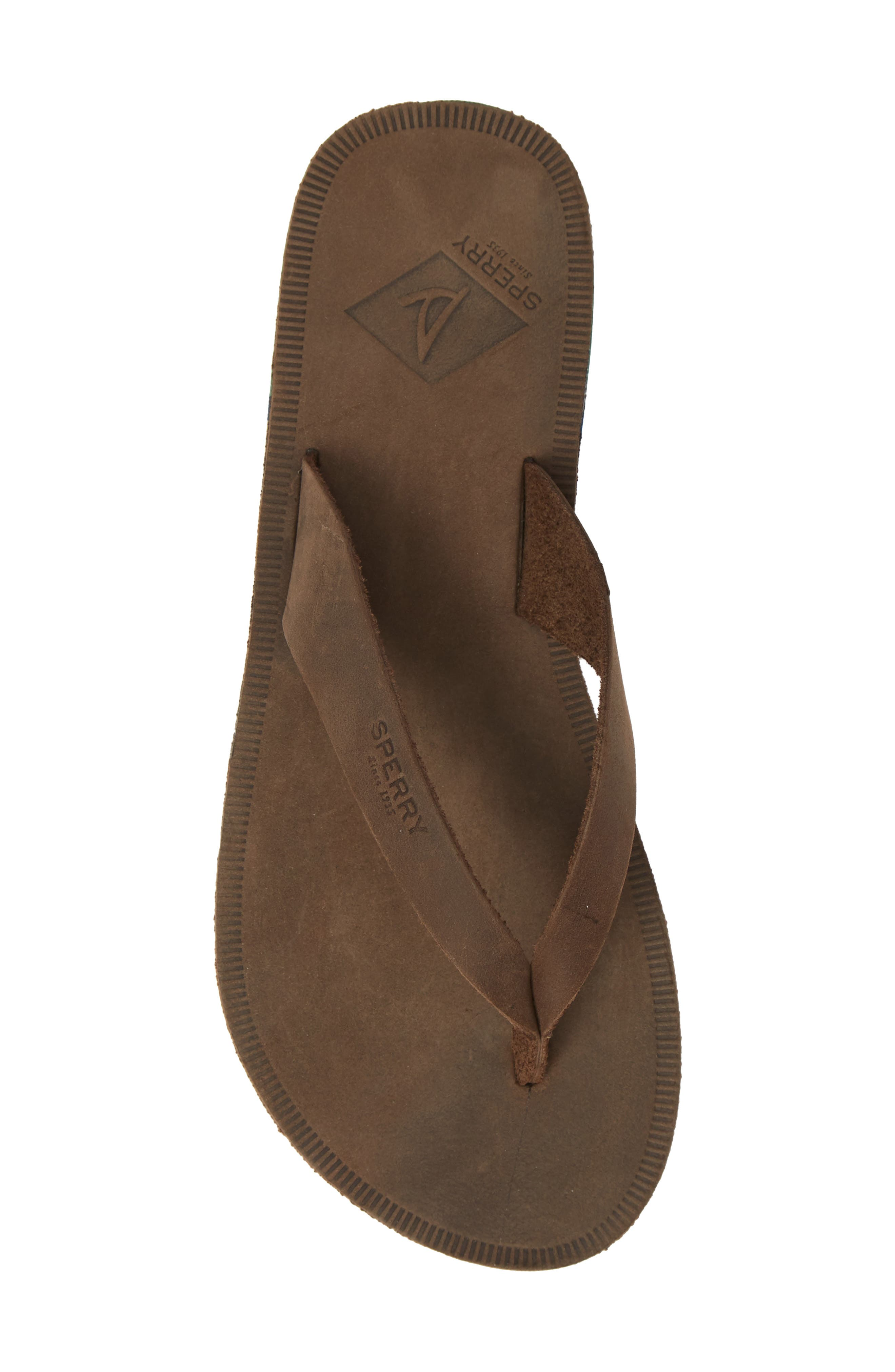 SPERRY, Wharf Flip Flop, Alternate thumbnail 5, color, CHOCOLATE LEATHER