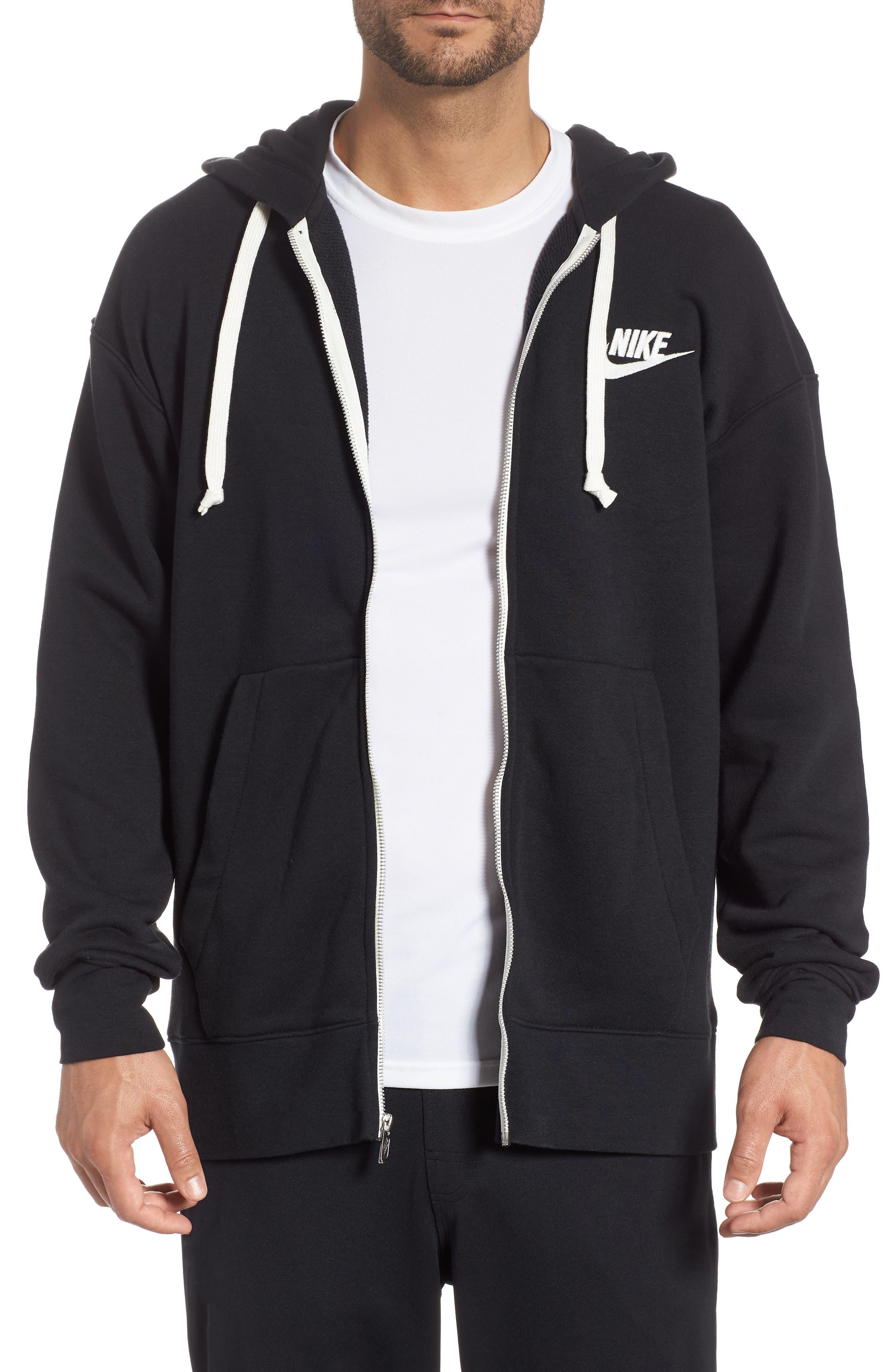 NIKE, Sportswear Heritage Zip Hoodie, Main thumbnail 1, color, BLACK/ SAIL