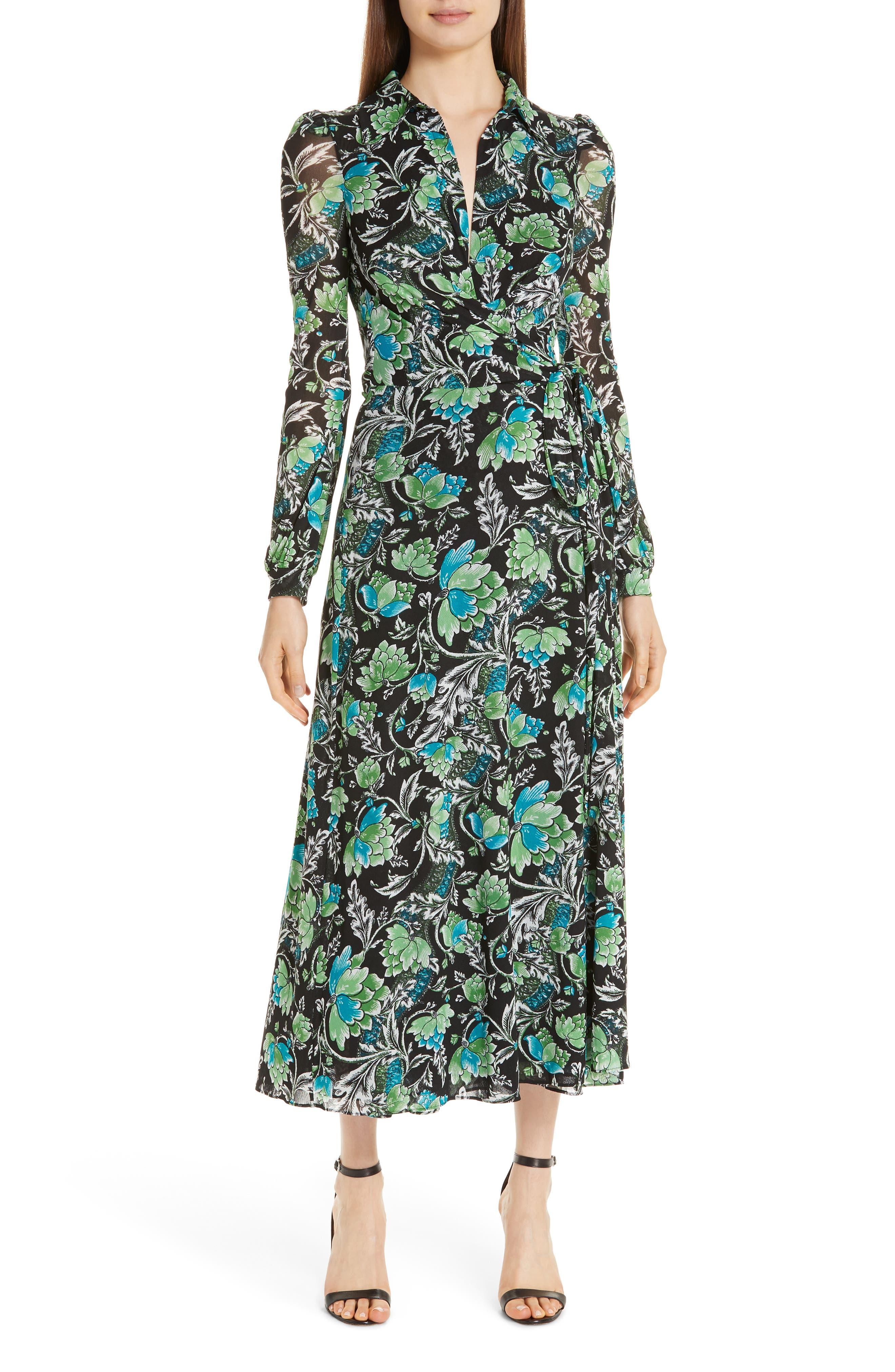 DVF, Phoenix Floral Print Wrap Dress, Main thumbnail 1, color, 001