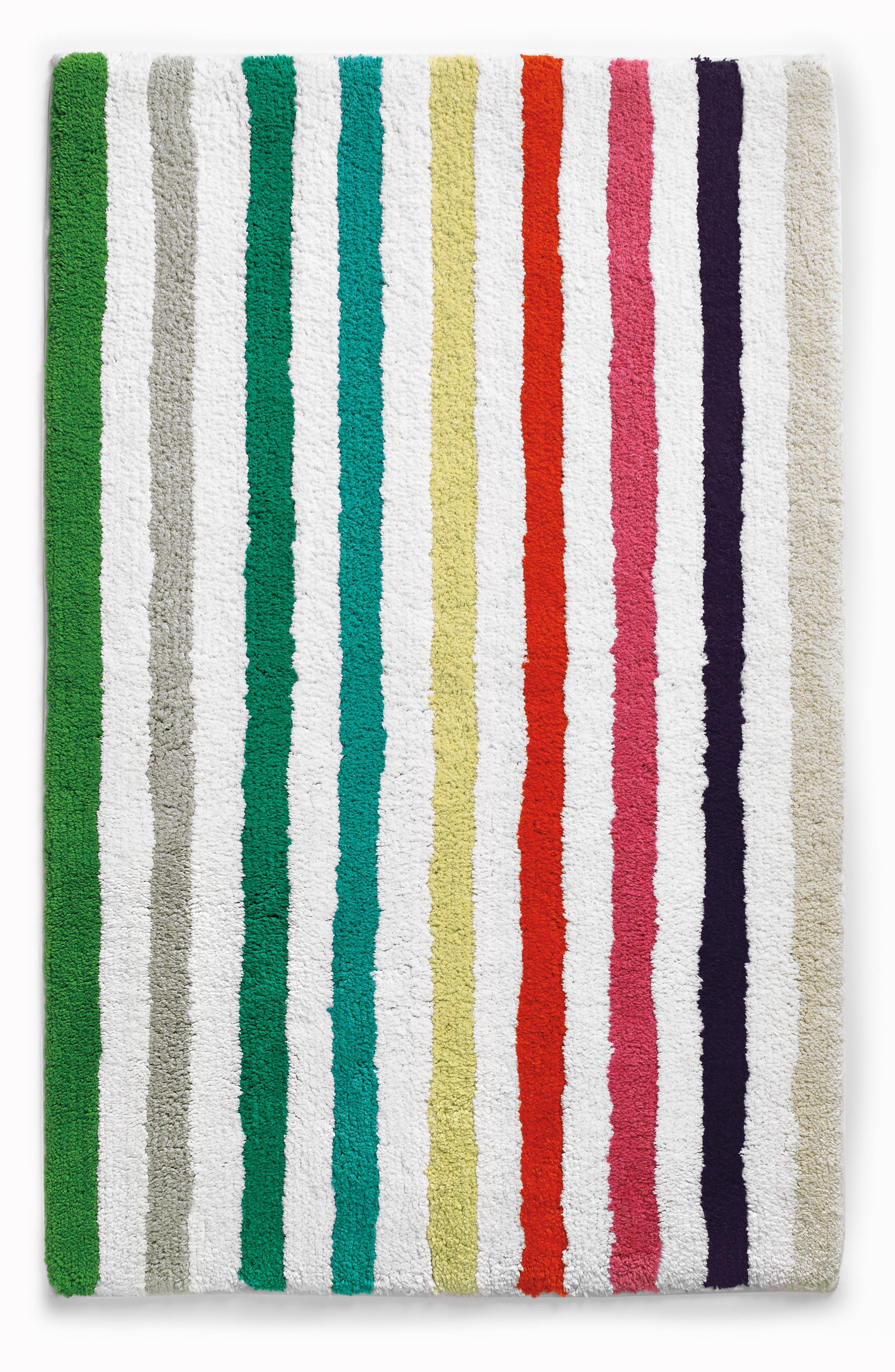 KATE SPADE NEW YORK, candy stripe bath rug, Main thumbnail 1, color, WHITE MULTI