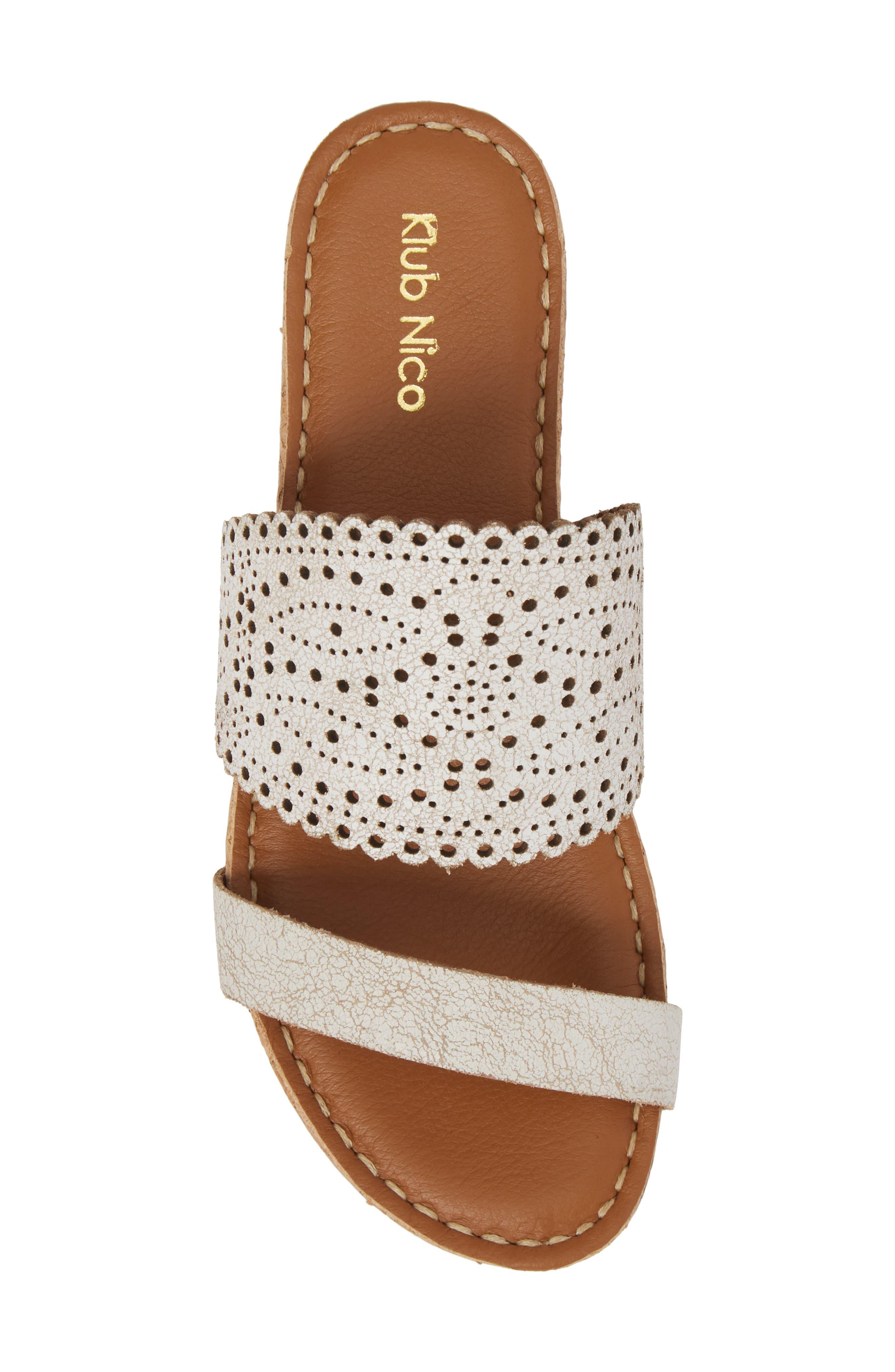 KLUB NICO, Ginette Perforated Slide Sandal, Alternate thumbnail 5, color, WHITE LEATHER