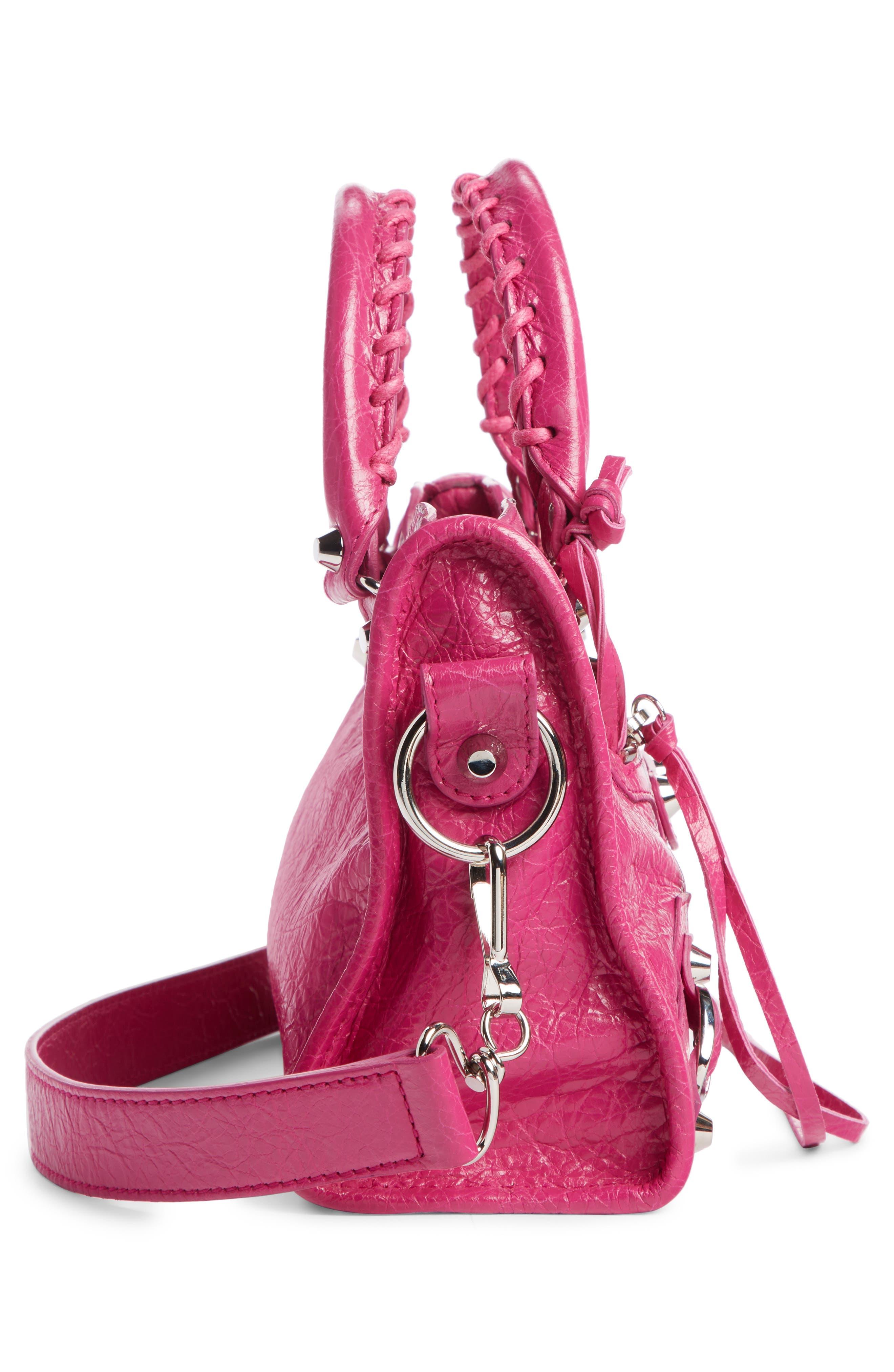 BALENCIAGA, Classic Mini City Leather Tote, Alternate thumbnail 3, color, ROSE MAGENTA