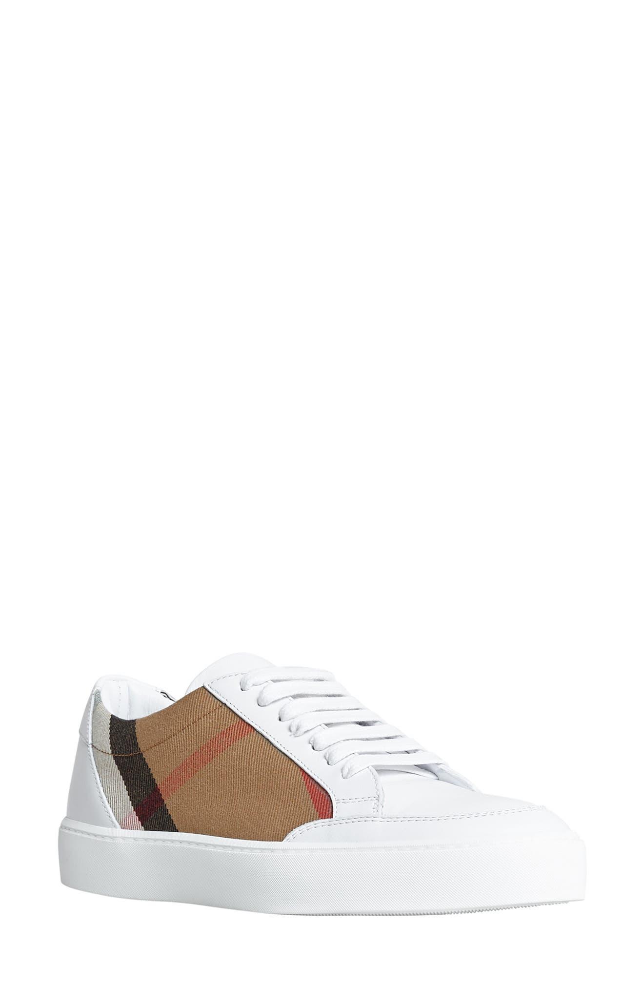 BURBERRY, Salmond Sneaker, Main thumbnail 1, color, WHITE