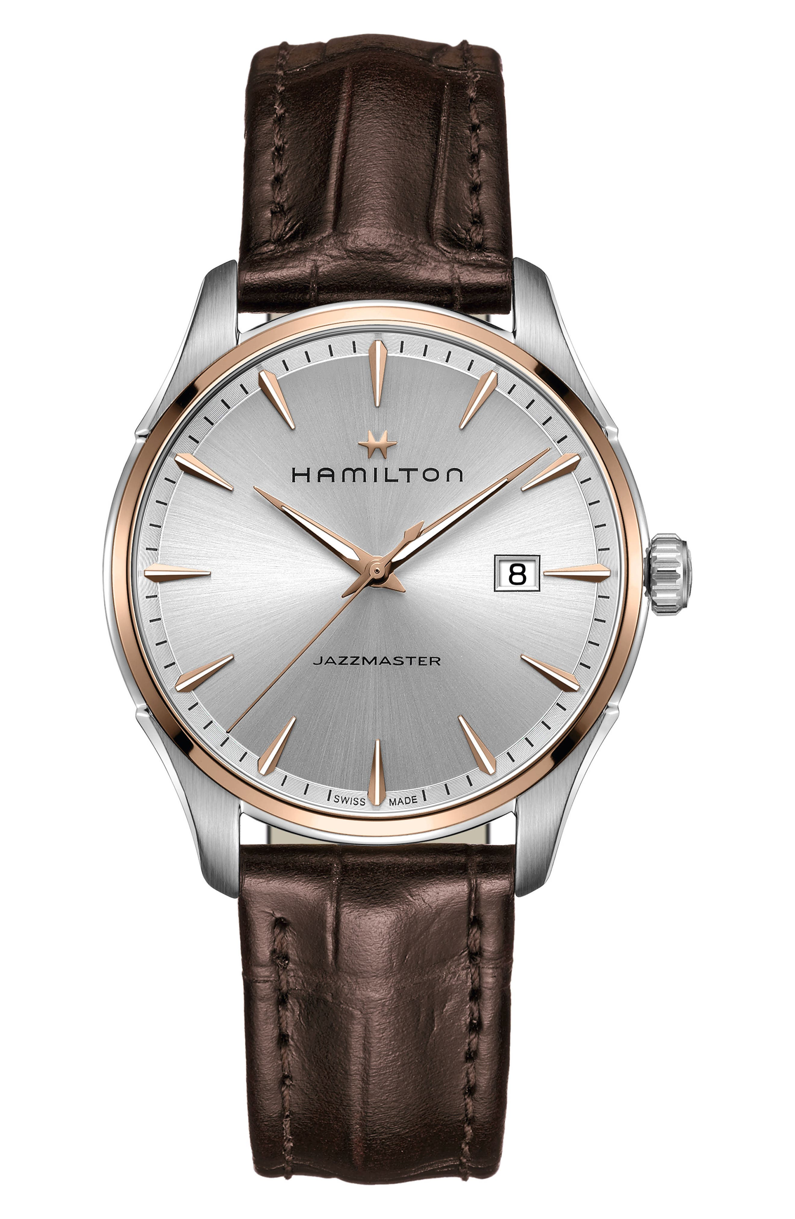 HAMILTON, Jazzmaster Gent Leather Strap Watch, 40mm, Main thumbnail 1, color, BROWN/ SILVER/ ROSE GOLD