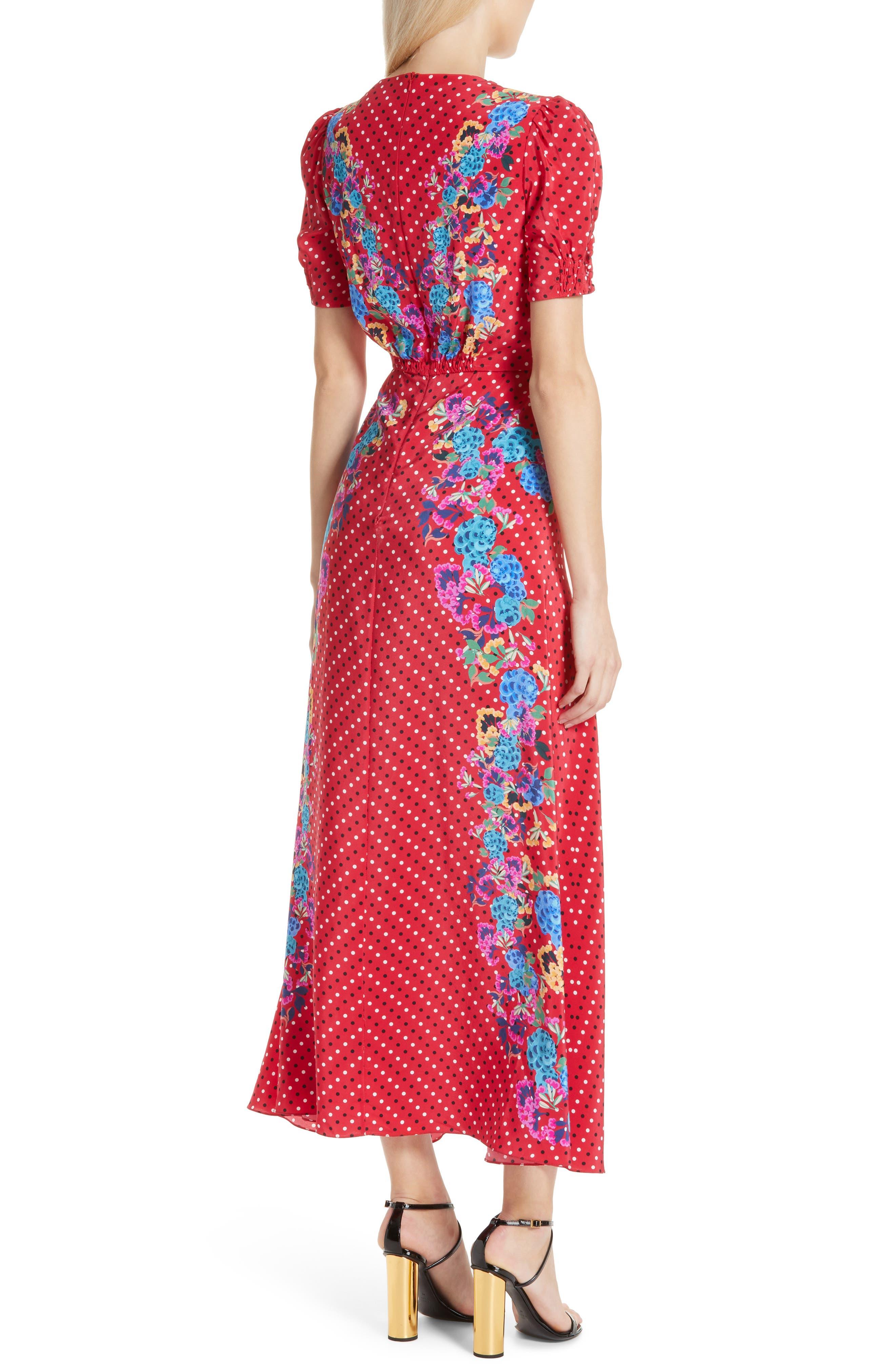 SALONI, Lea Print Silk Maxi Dress, Alternate thumbnail 2, color, SCARLET POLKA DOT