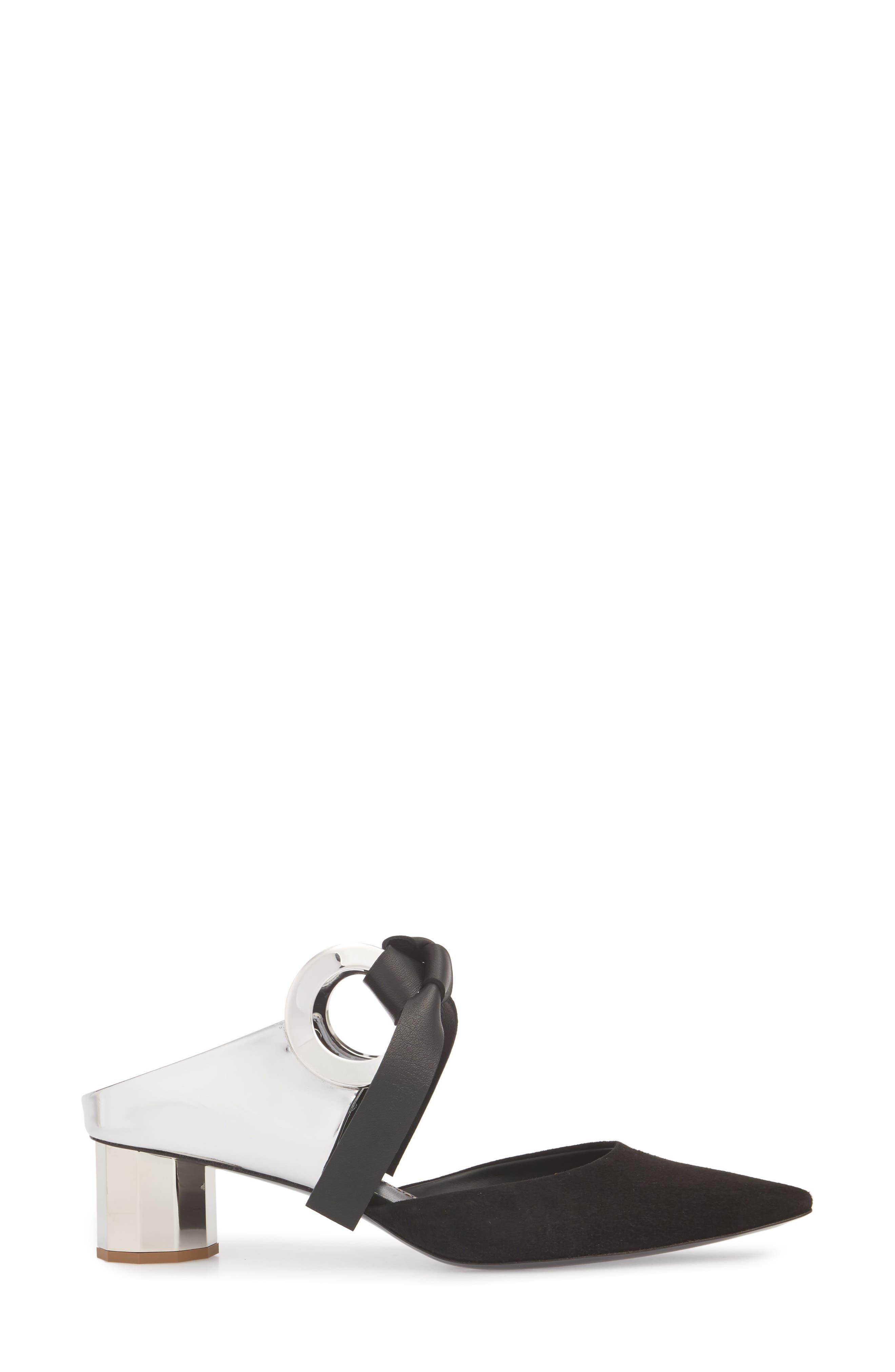 PROENZA SCHOULER, Grommet Pointy Toe Mule, Alternate thumbnail 3, color, SILVER/ BLACK