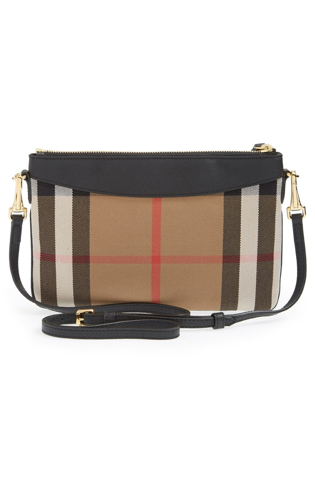 BURBERRY, 'Peyton - House Check' Crossbody Bag, Alternate thumbnail 5, color, 001