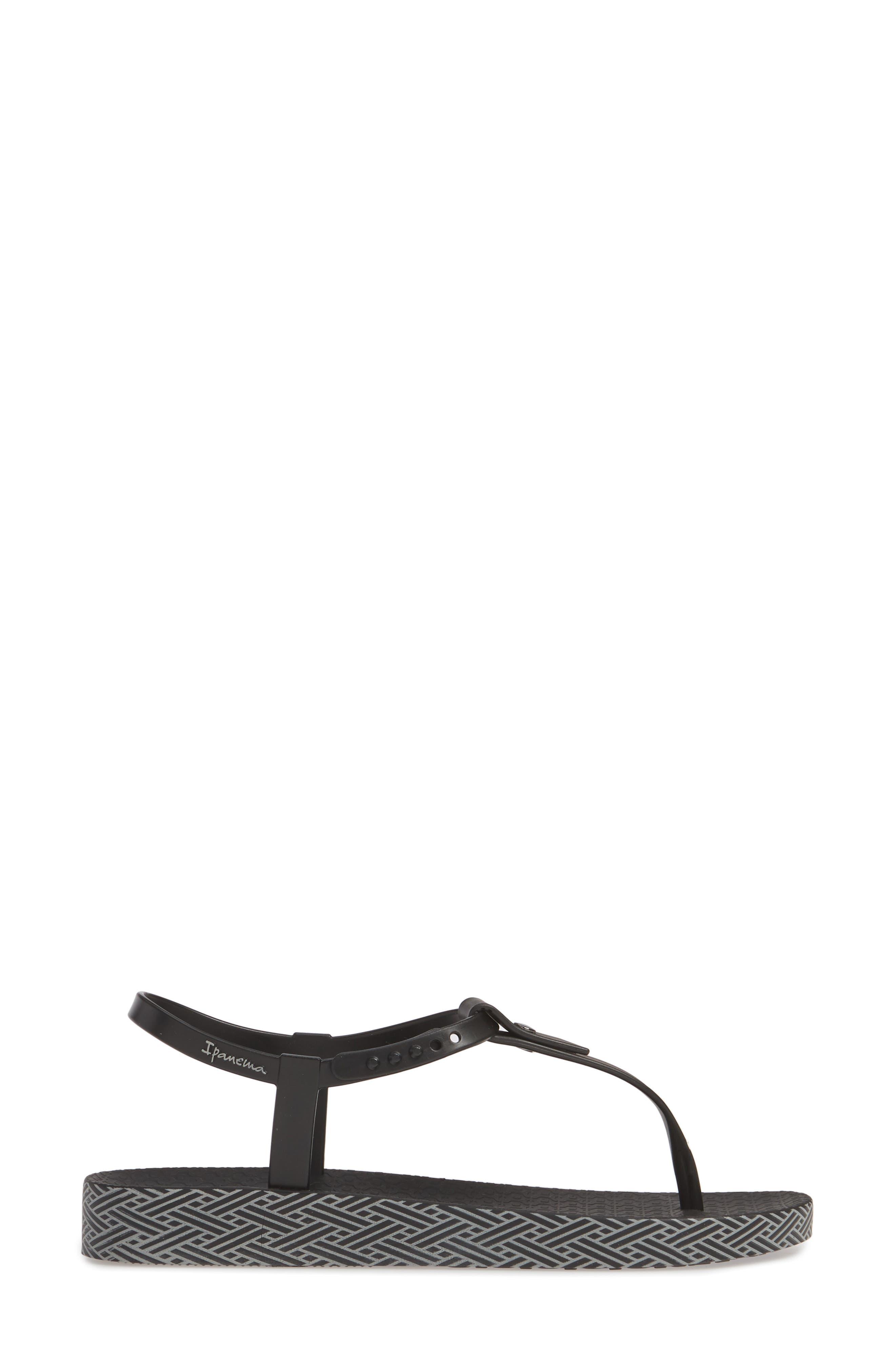 IPANEMA, Plush Weave T-Strap Sandal, Alternate thumbnail 3, color, BLACK