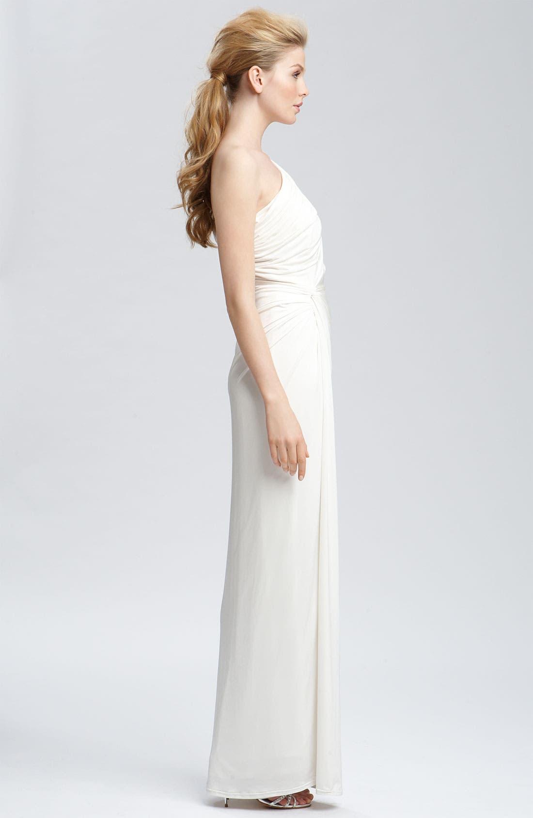 TADASHI SHOJI, Beaded Jersey One Shoulder Gown, Alternate thumbnail 4, color, 900