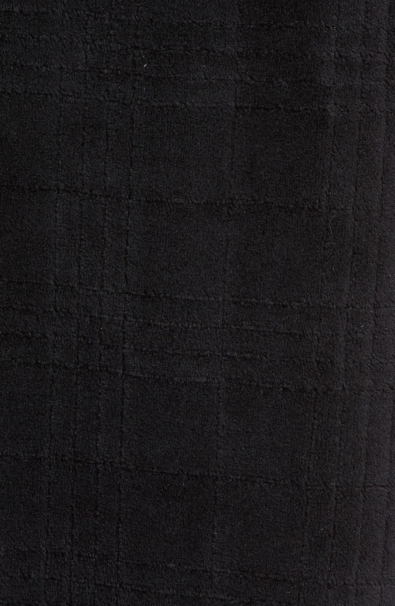 NORDSTROM MEN'S SHOP, Shadow Plaid Fleece Robe, Alternate thumbnail 5, color, BLACK