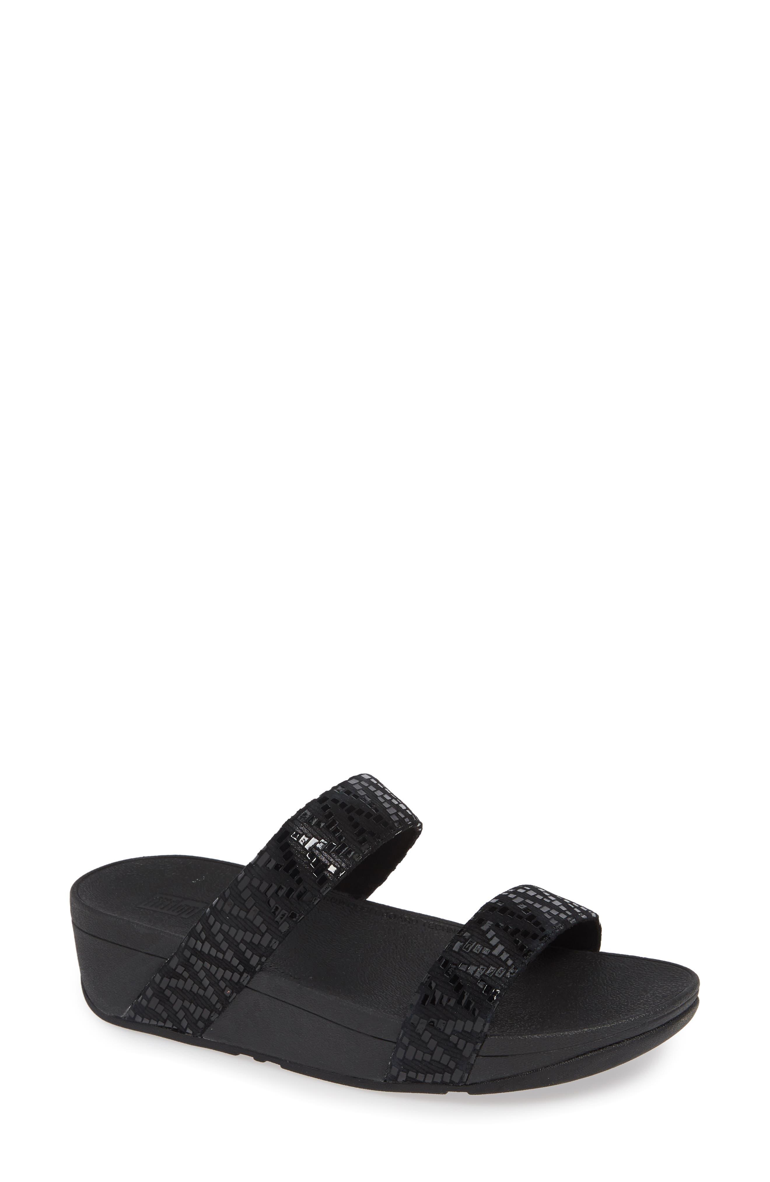 FITFLOP, Lottie Chevron Wedge Slide Sandal, Main thumbnail 1, color, BLACK FABRIC