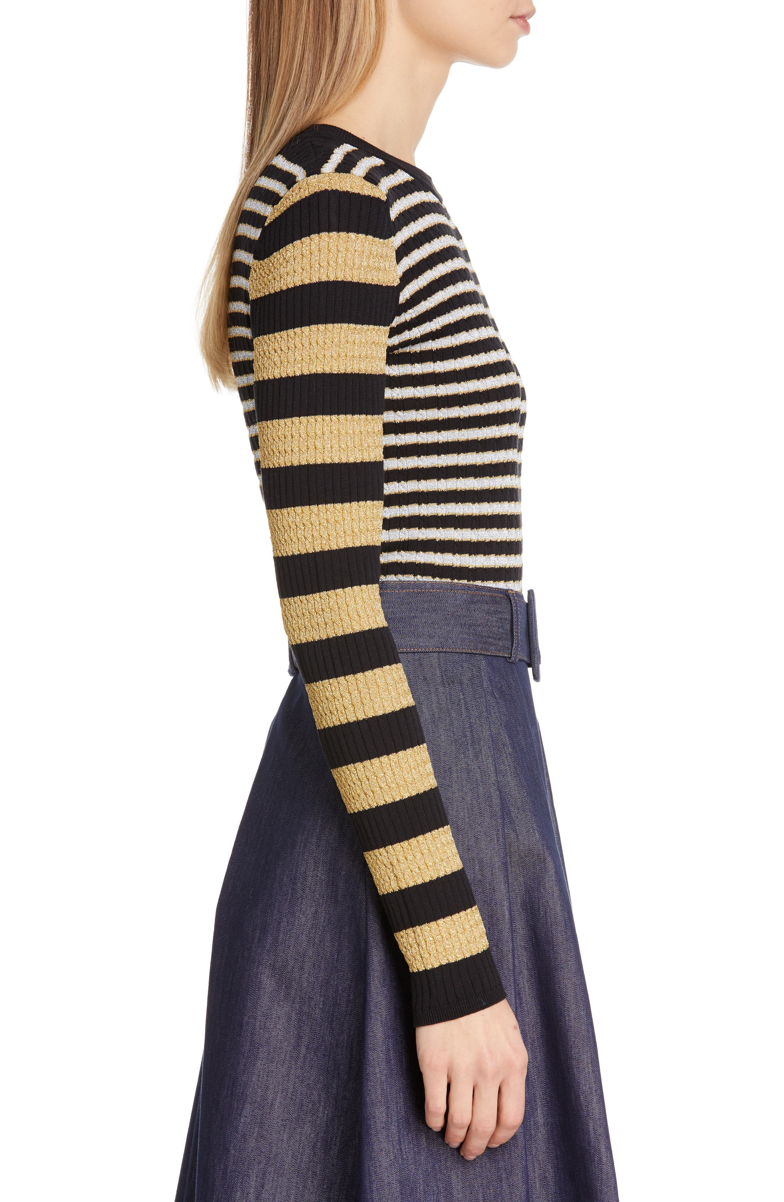 TOMMY X ZENDAYA, Metallic Stripe Knit Top, Alternate thumbnail 3, color, BLACK BEAUTY MULTI