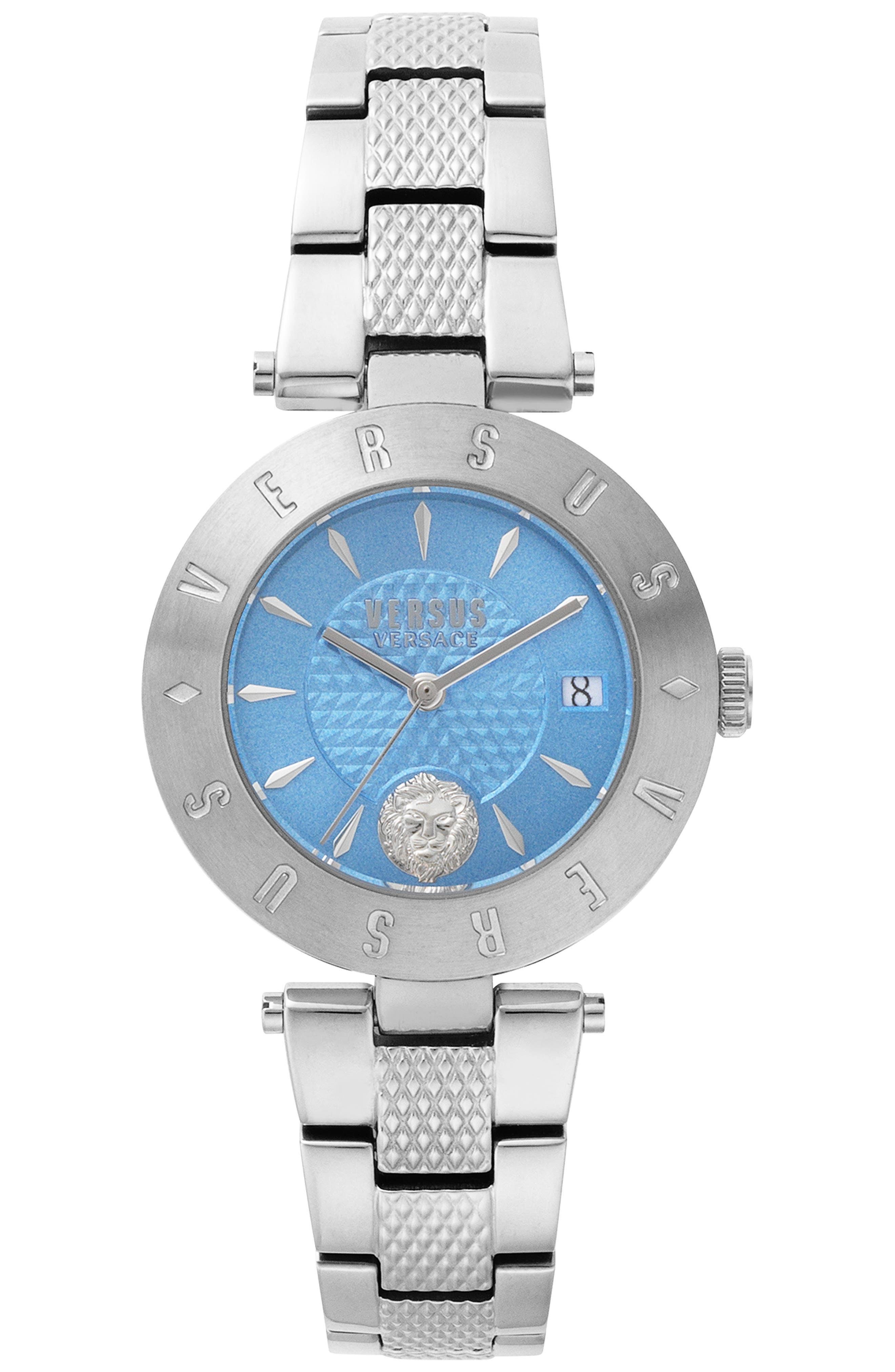 VERSUS VERSACE, Logo Bracelet Watch, 34mm, Main thumbnail 1, color, SILVER/ BLUE