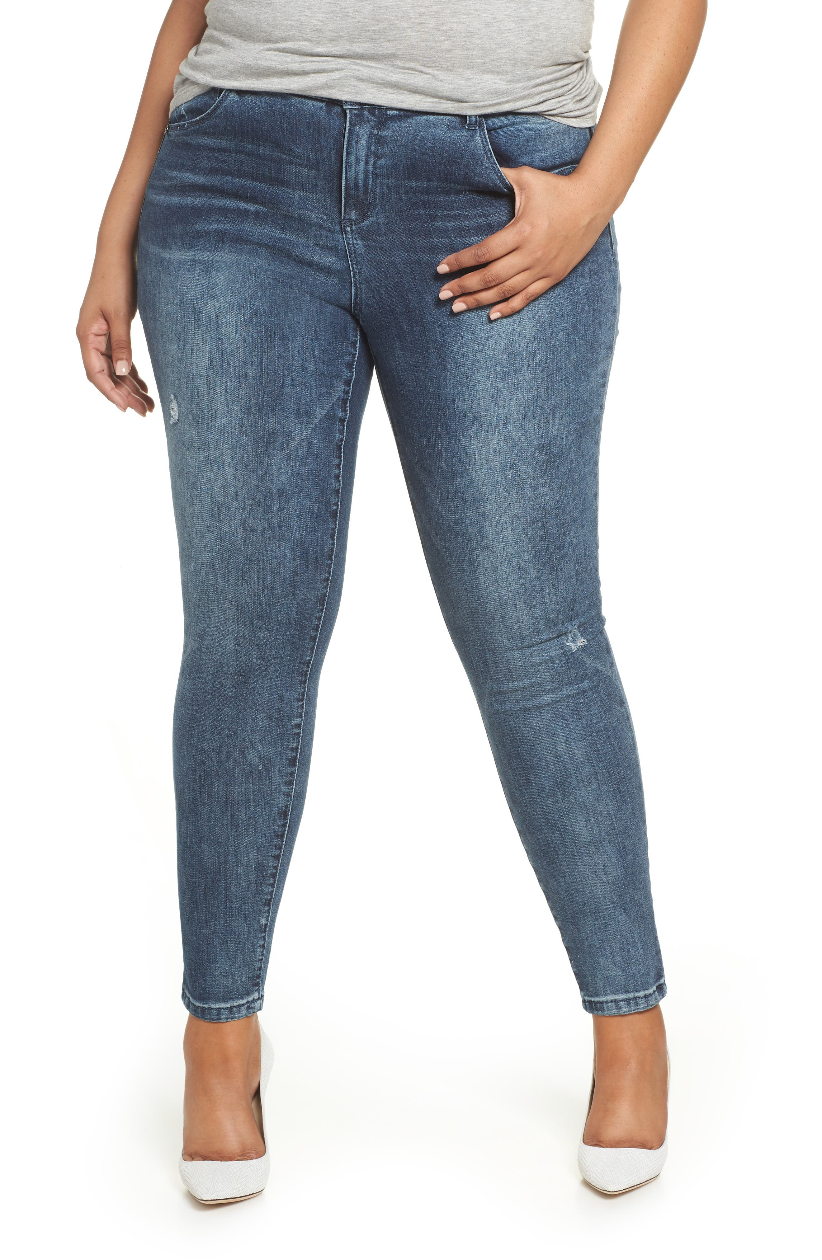 WIT & WISDOM, 30/10 High Rise Ab-solution Skinny Fit Jeans, Main thumbnail 1, color, BLUE