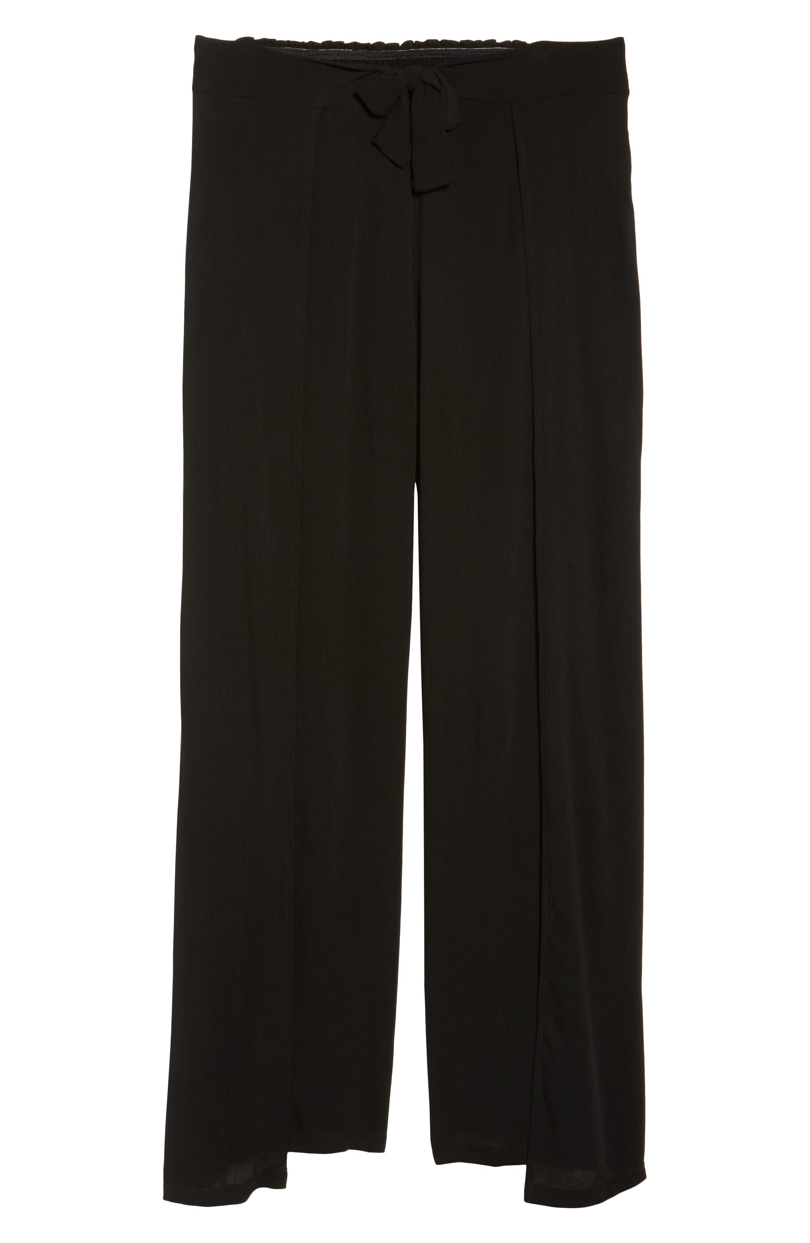 BECCA ETC., Modern Muse Cover-Up Pants, Alternate thumbnail 7, color, BLACK
