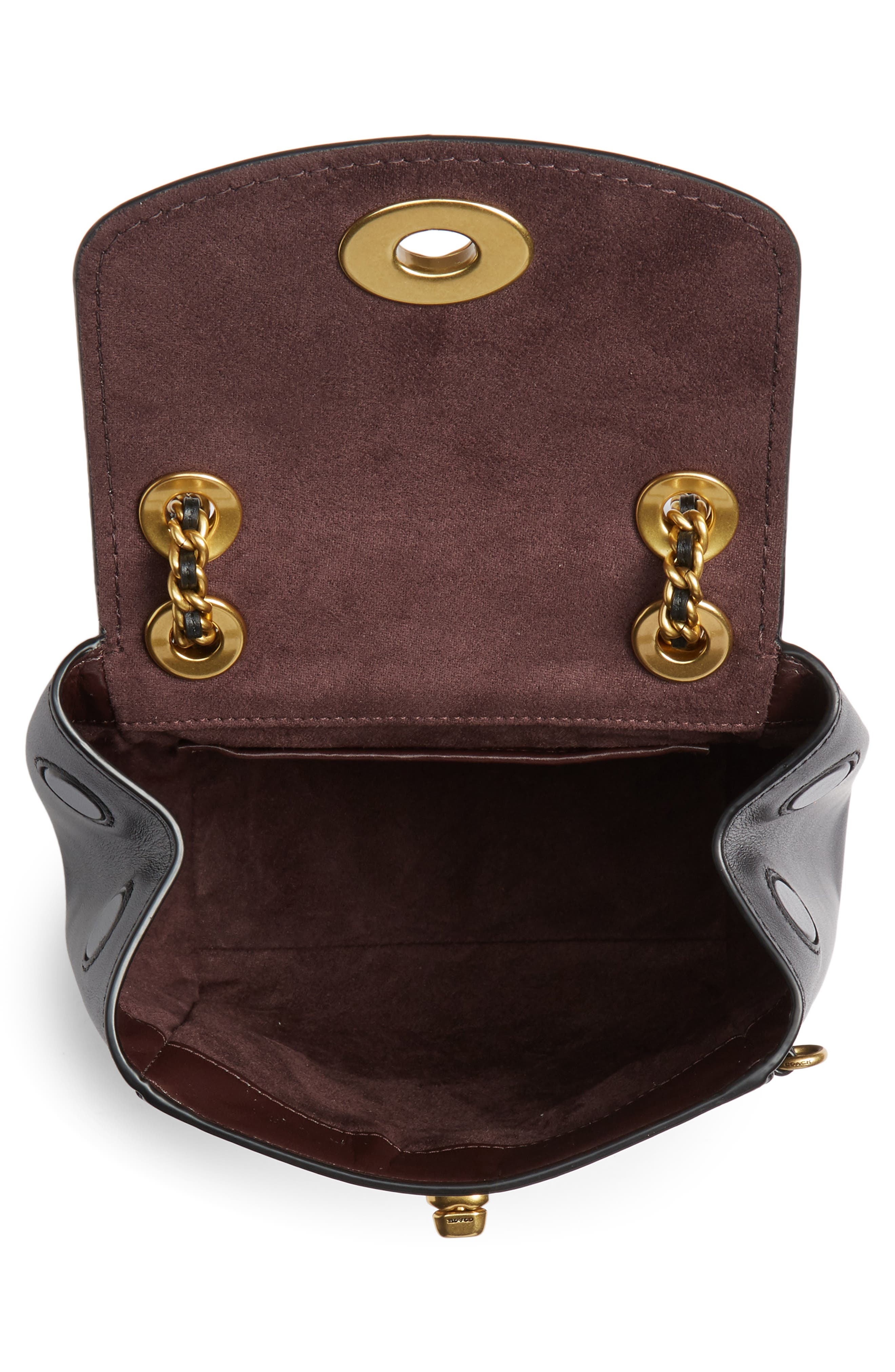 COACH, Parker 16 Convertible Calfskin Leather Backpack, Alternate thumbnail 6, color, B4/ BLACK