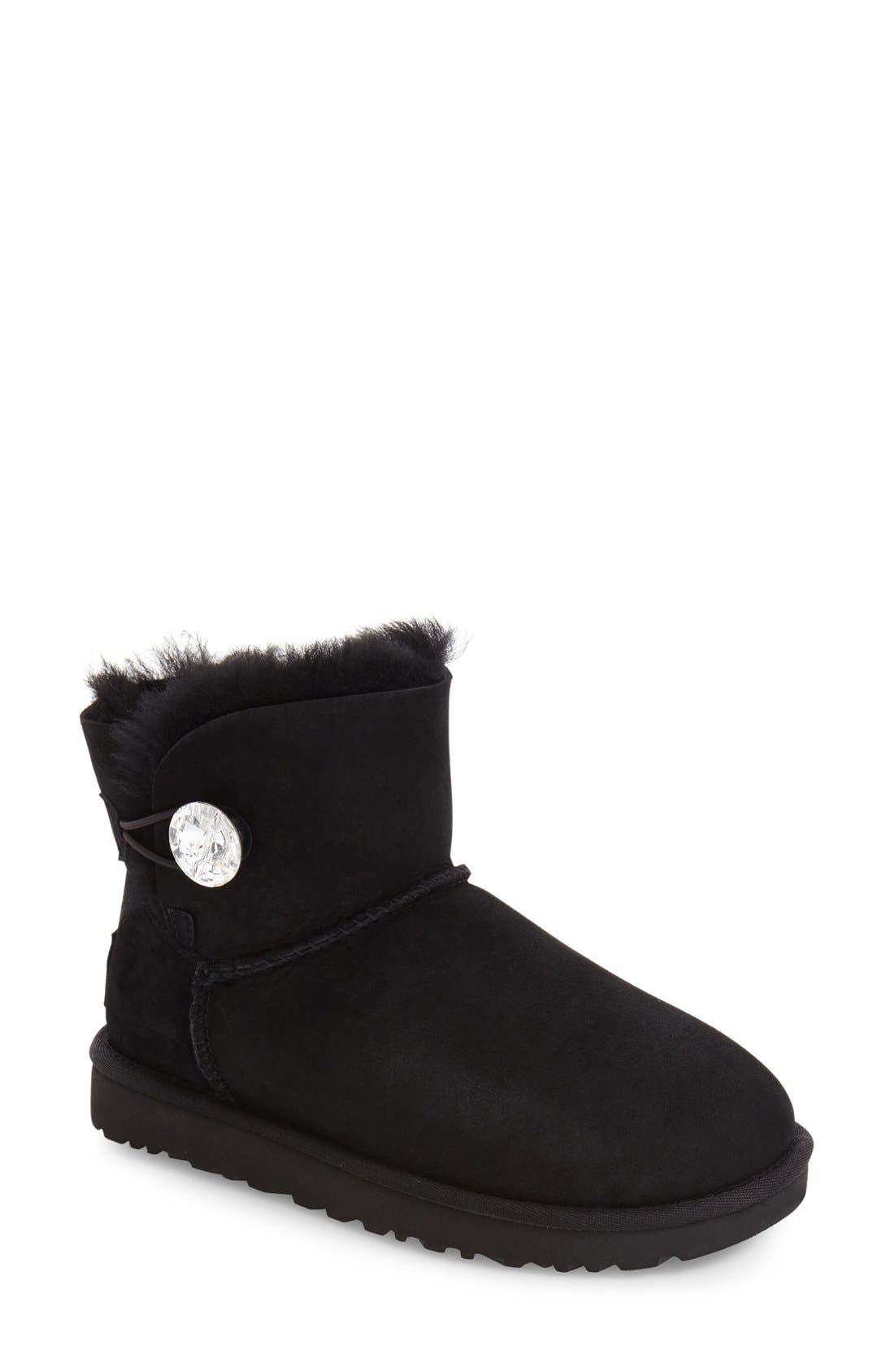 UGG<SUP>®</SUP>, Mini Bailey Button Bling Boot, Main thumbnail 1, color, BLACK SUEDE