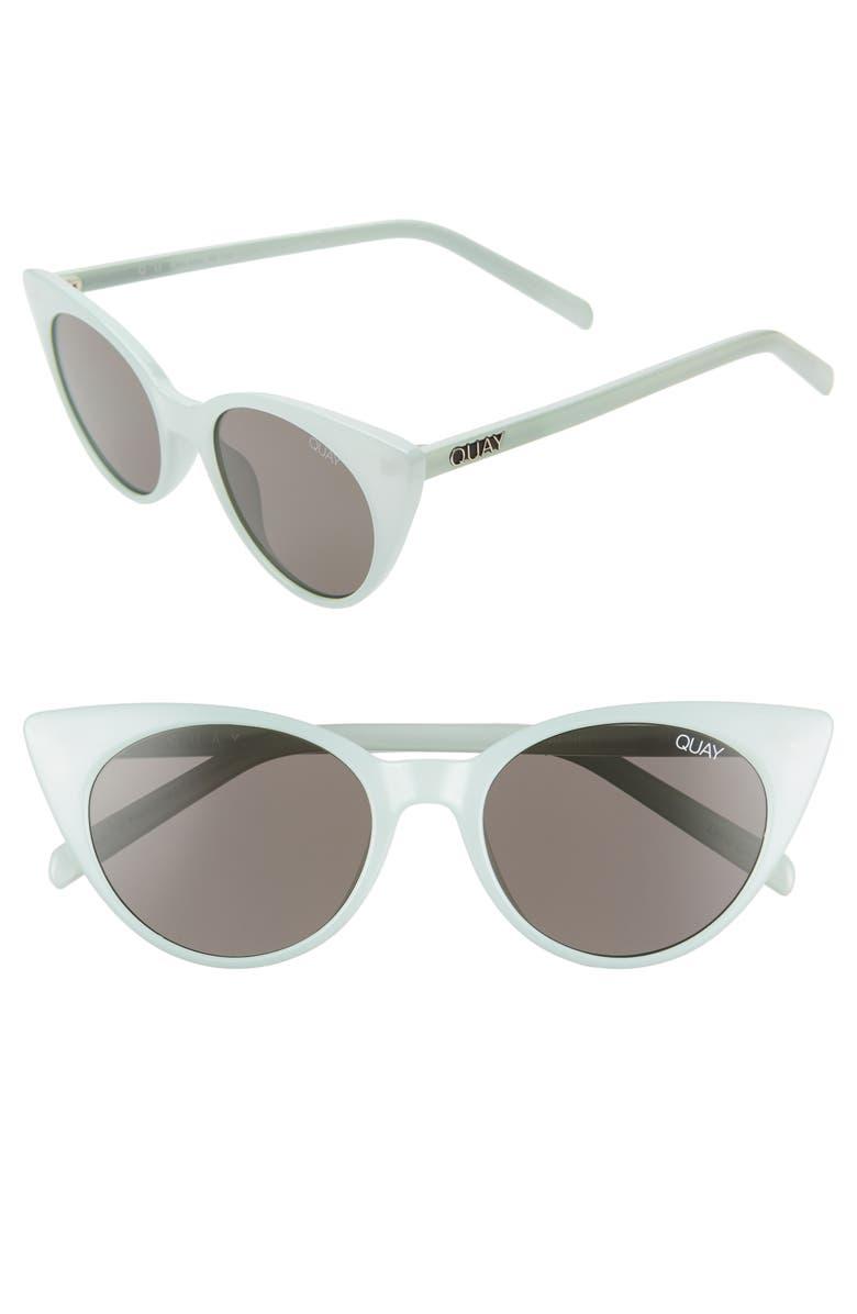 Quay Sunglasses APHRODITE 53MM CAT EYE SUNGLASSES - MINT/ SMOKE