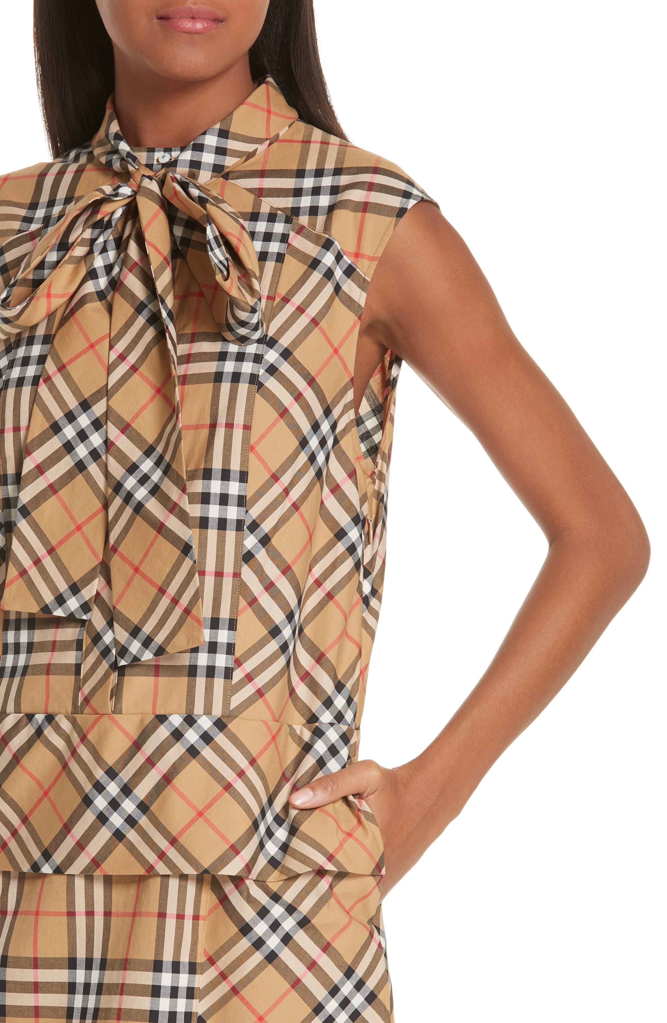 BURBERRY, Luna Tie Neck Check Dress, Alternate thumbnail 5, color, ANTIQUE YELLOW CHECK