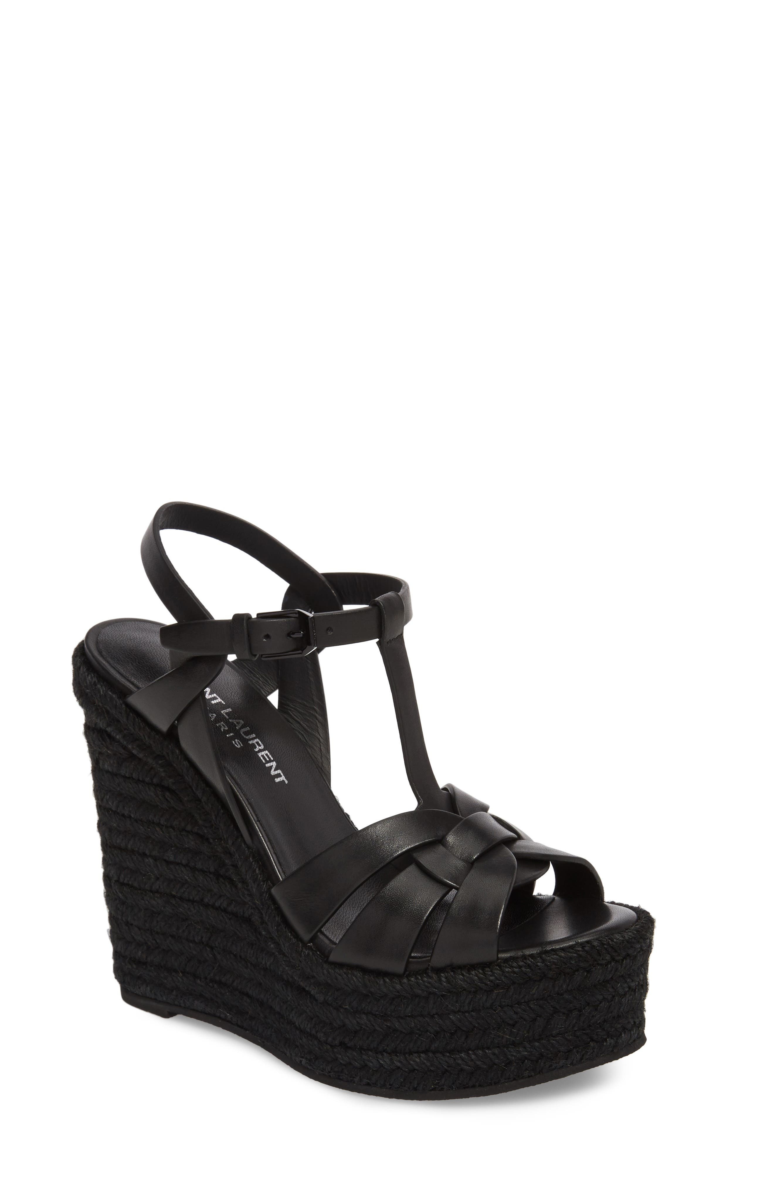 SAINT LAURENT, Tribute Espadrille Wedge, Main thumbnail 1, color, BLACK
