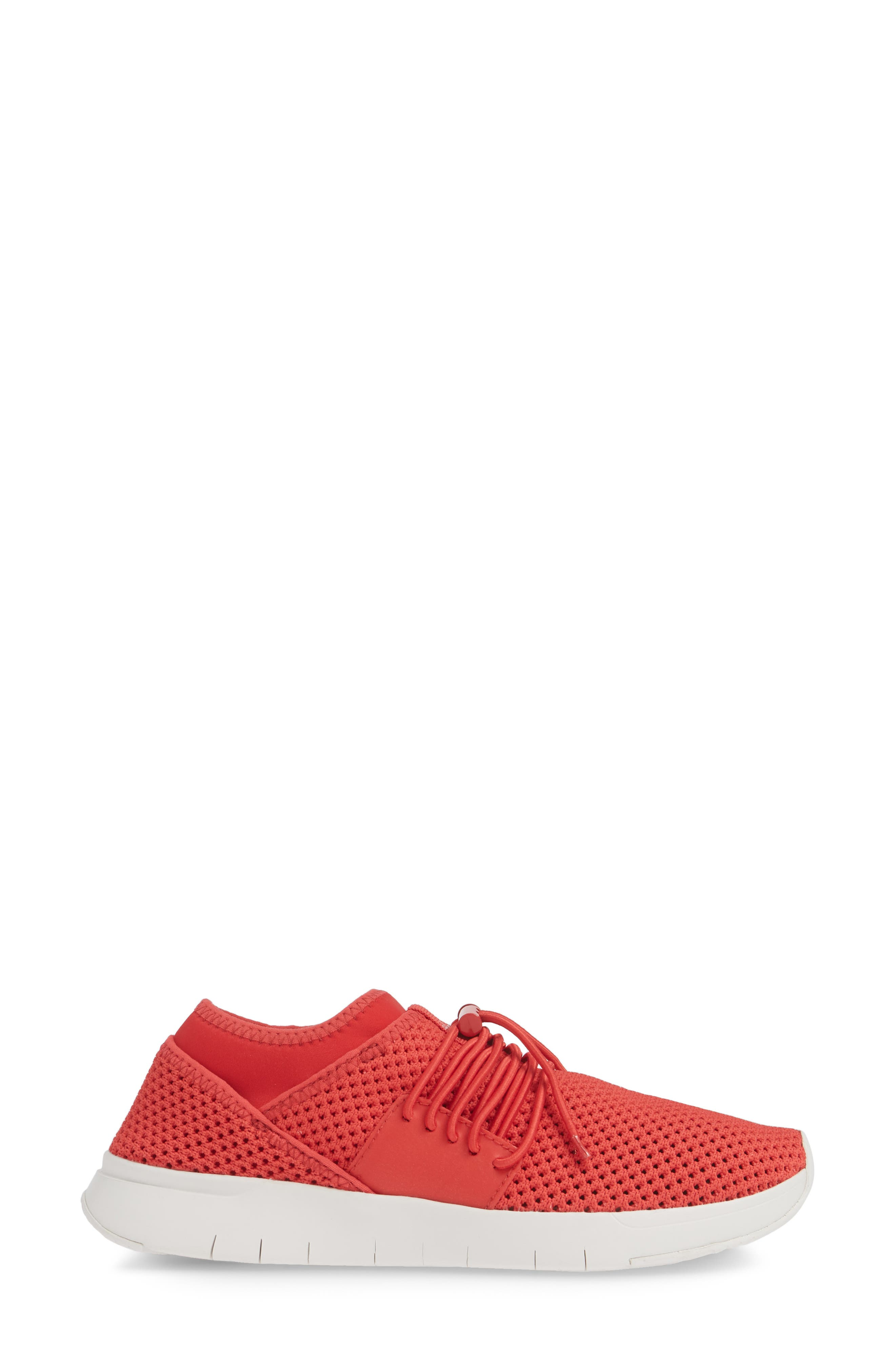 FITFLOP, Airmesh Sneaker, Alternate thumbnail 3, color, PASSION RED