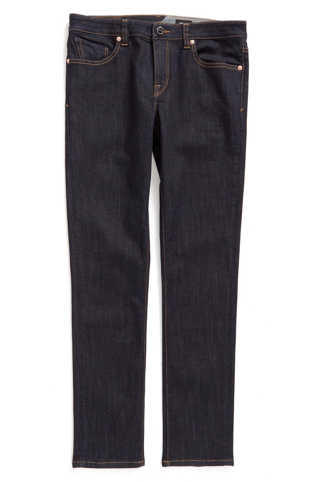 VOLCOM, 'Solver' Straight Leg Denim Jeans, Main thumbnail 1, color, BLUE RINSE