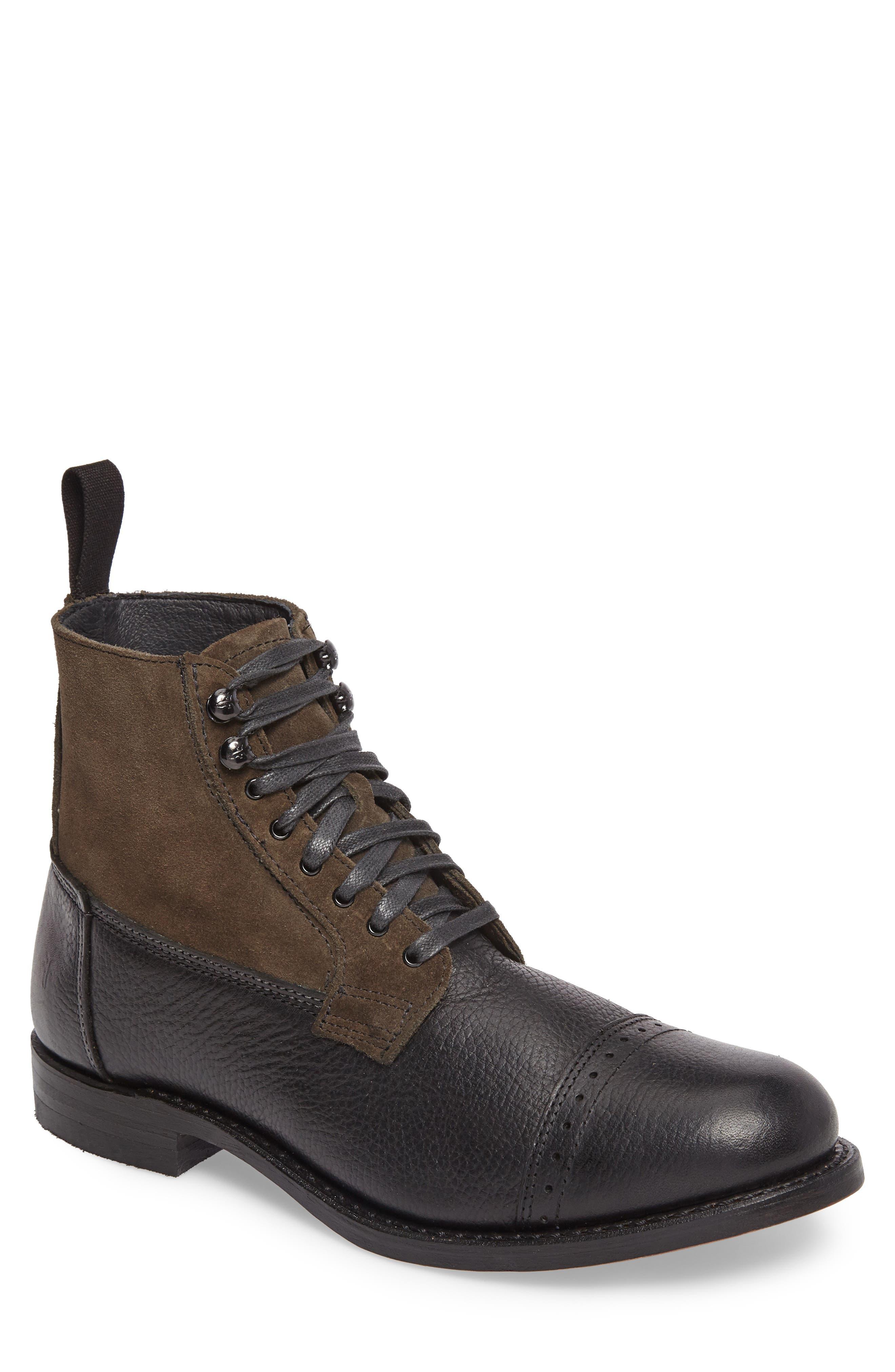 Frey Garrison Cap Toe Boot- Black