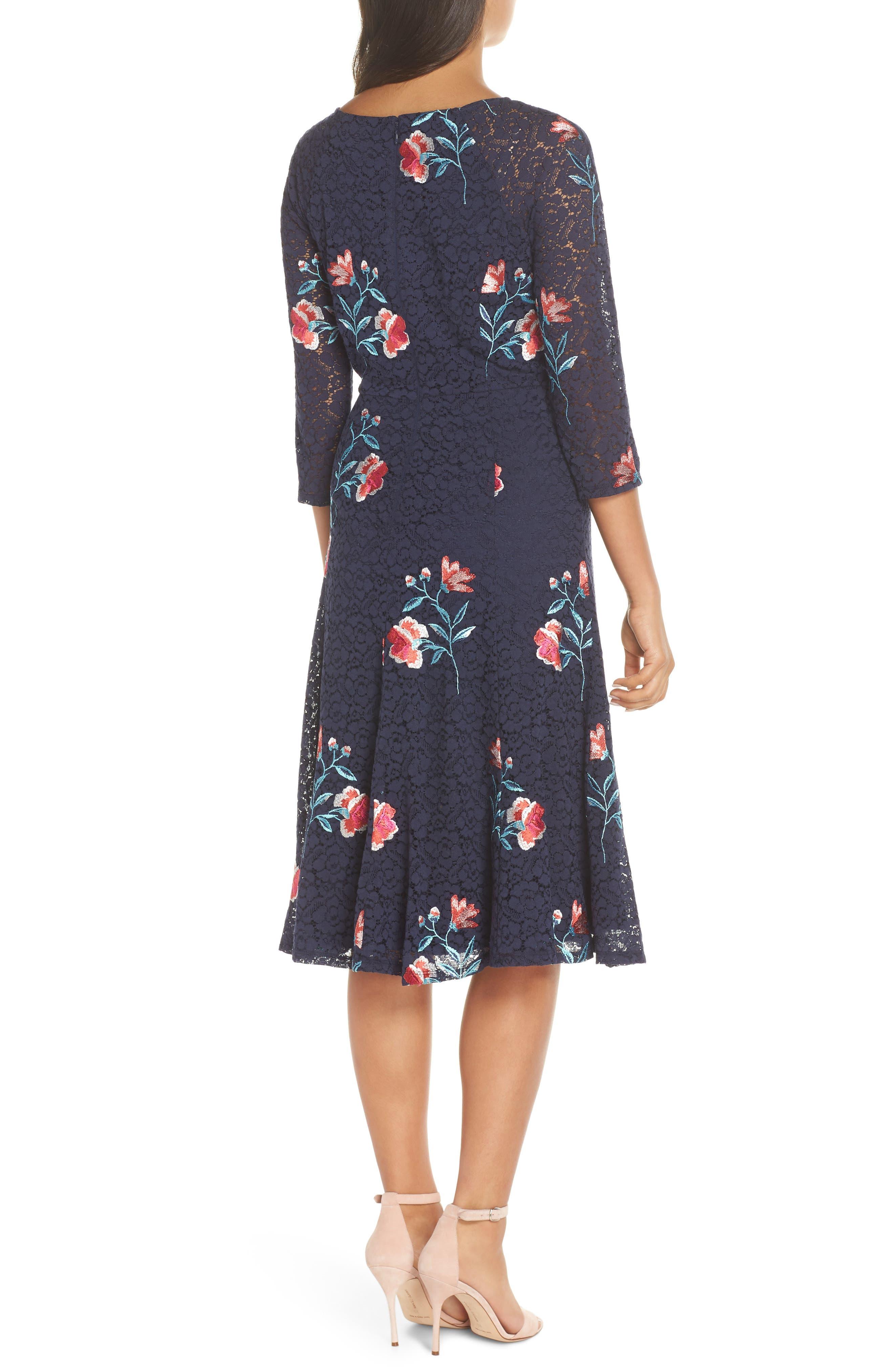 ELIZA J, Embroidery & Lace A-Line Dress, Alternate thumbnail 2, color, NAVY