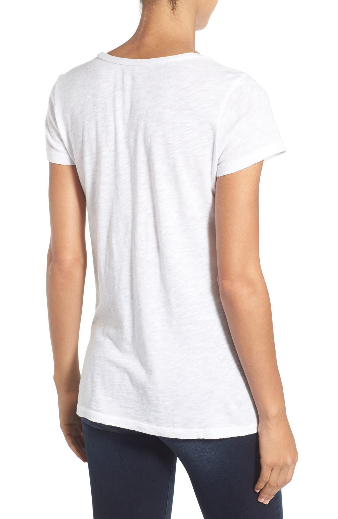 CASLON<SUP>®</SUP>, Rounded V-Neck Tee, Alternate thumbnail 9, color, WHITE