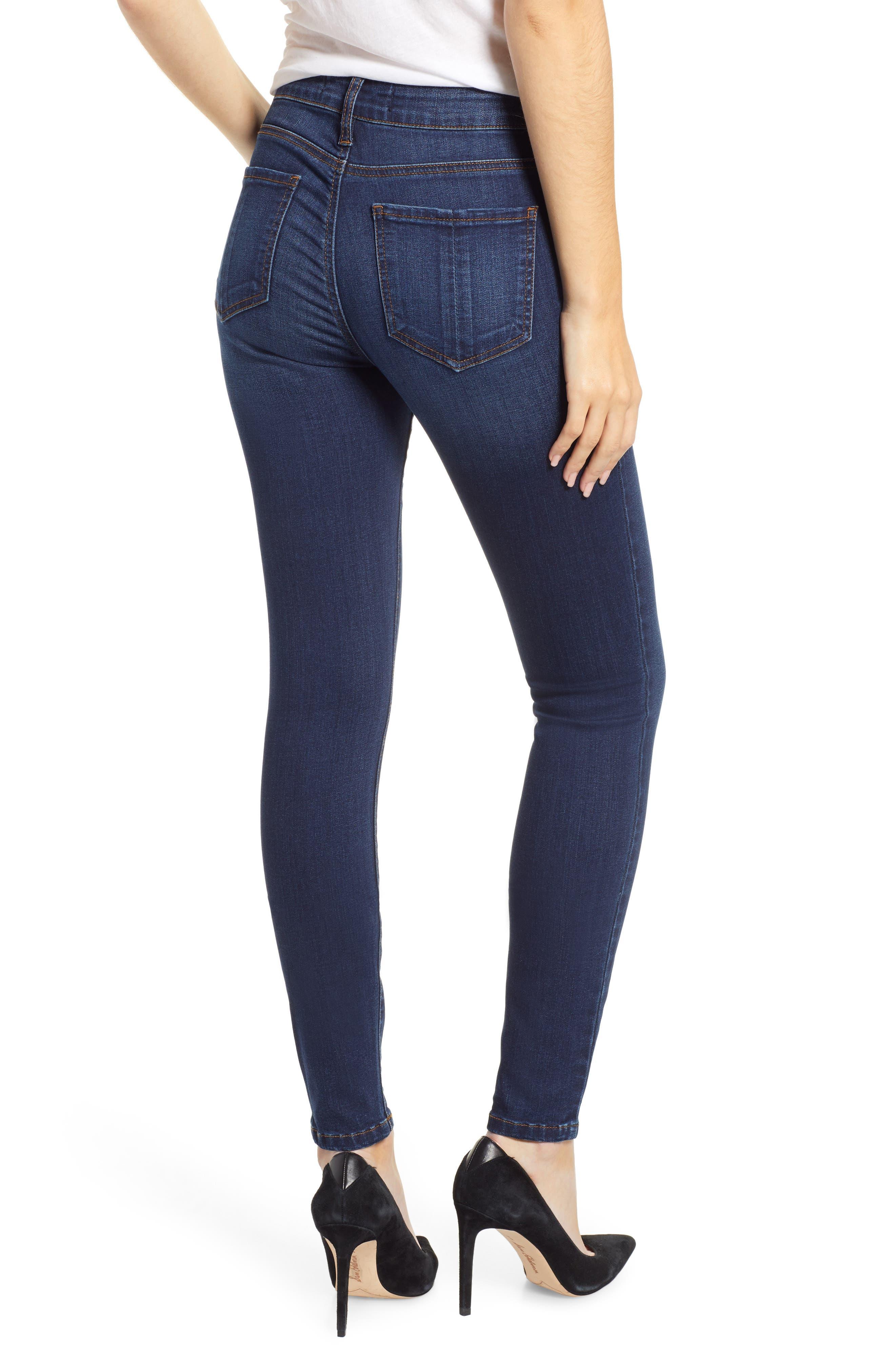 PROSPERITY DENIM, High Waist Skinny Jeans, Alternate thumbnail 2, color, DARK