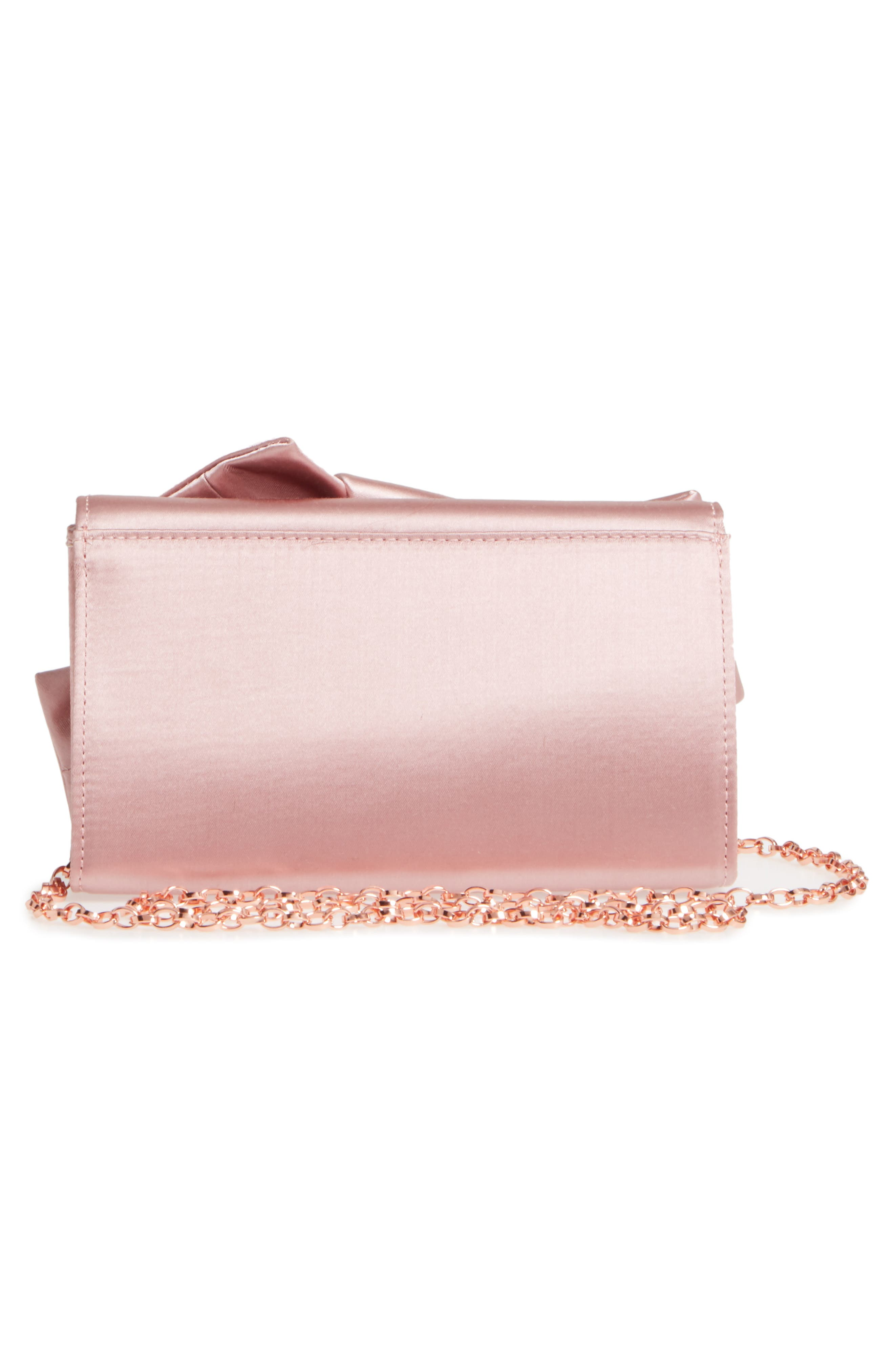 TED BAKER LONDON, Fefee Satin Knotted Bow Clutch, Alternate thumbnail 4, color, LIGHT PINK