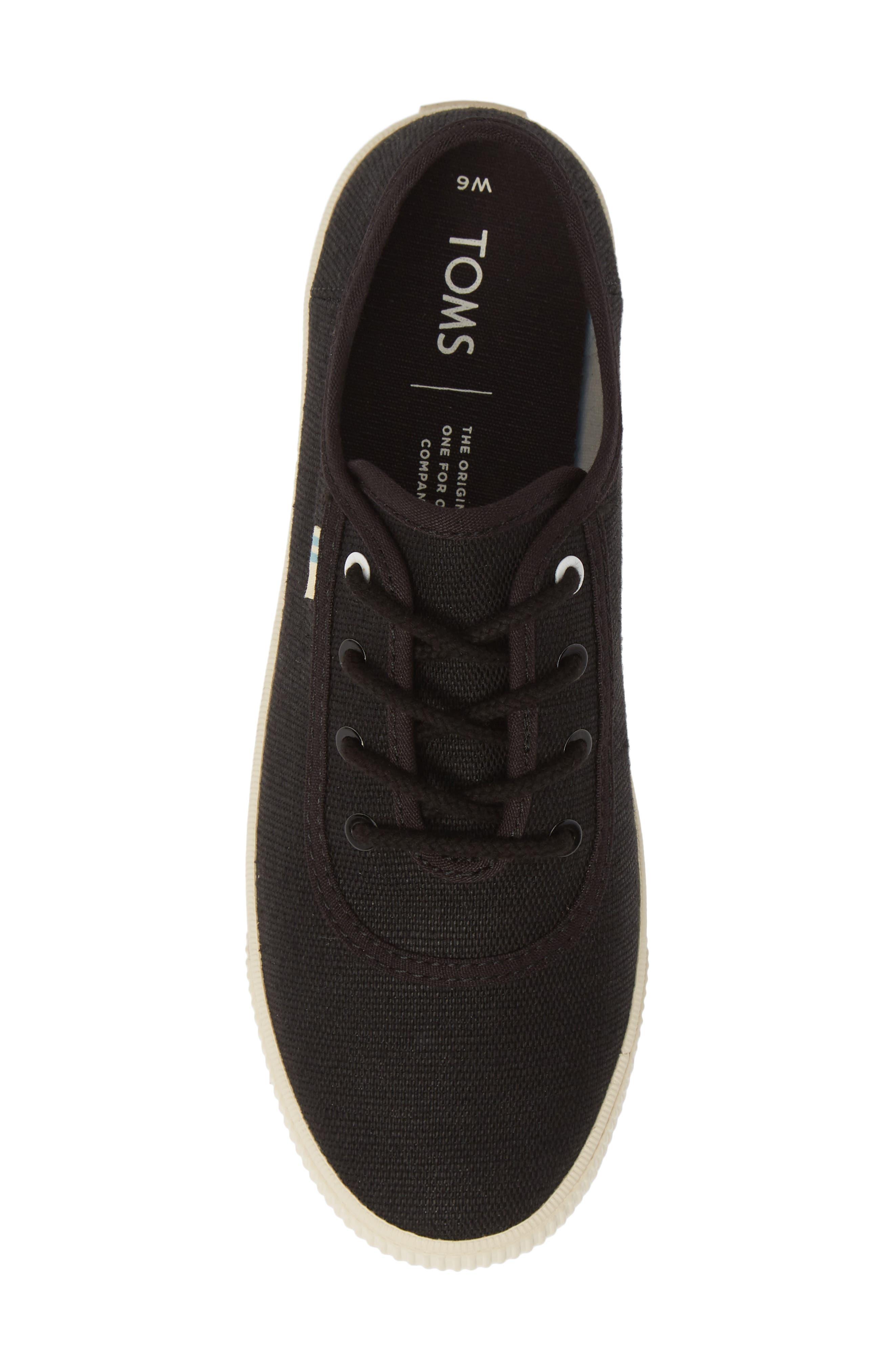 TOMS, Carmel Sneaker, Alternate thumbnail 5, color, BLACK HERITAGE CANVAS