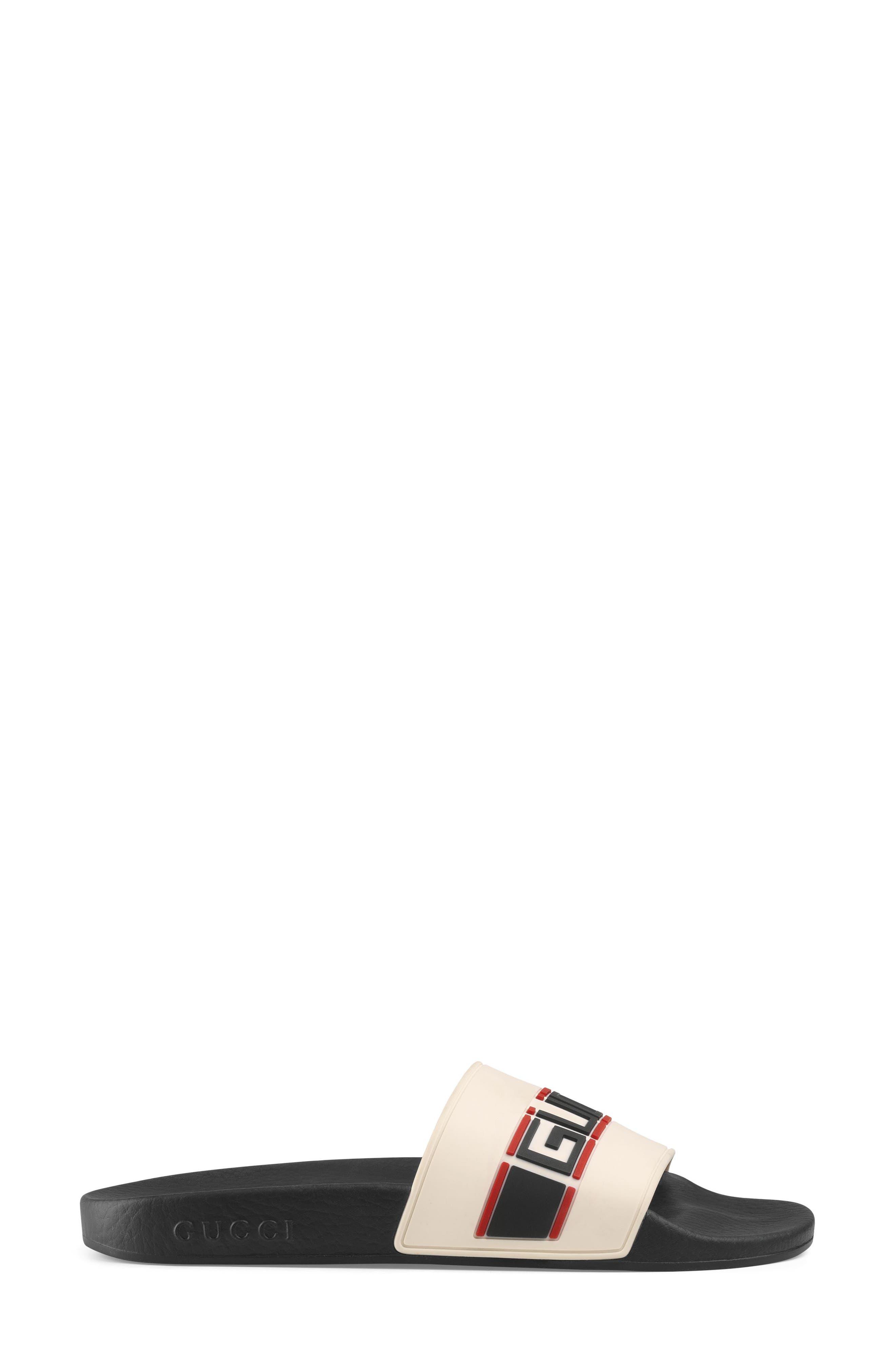 GUCCI, Pursuit Logo Slide Sandal, Alternate thumbnail 2, color, ECRU
