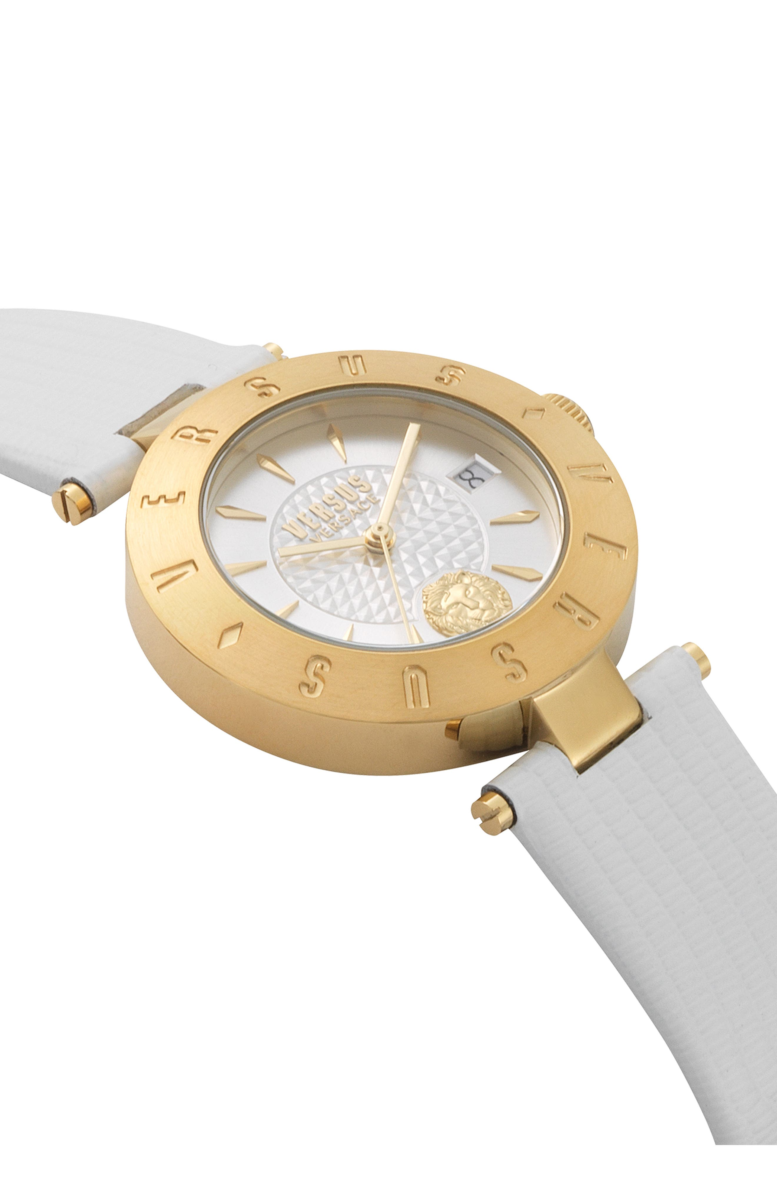 VERSUS VERSACE, Logo Leather Strap Watch, 34mm, Alternate thumbnail 3, color, WHITE/ GOLD