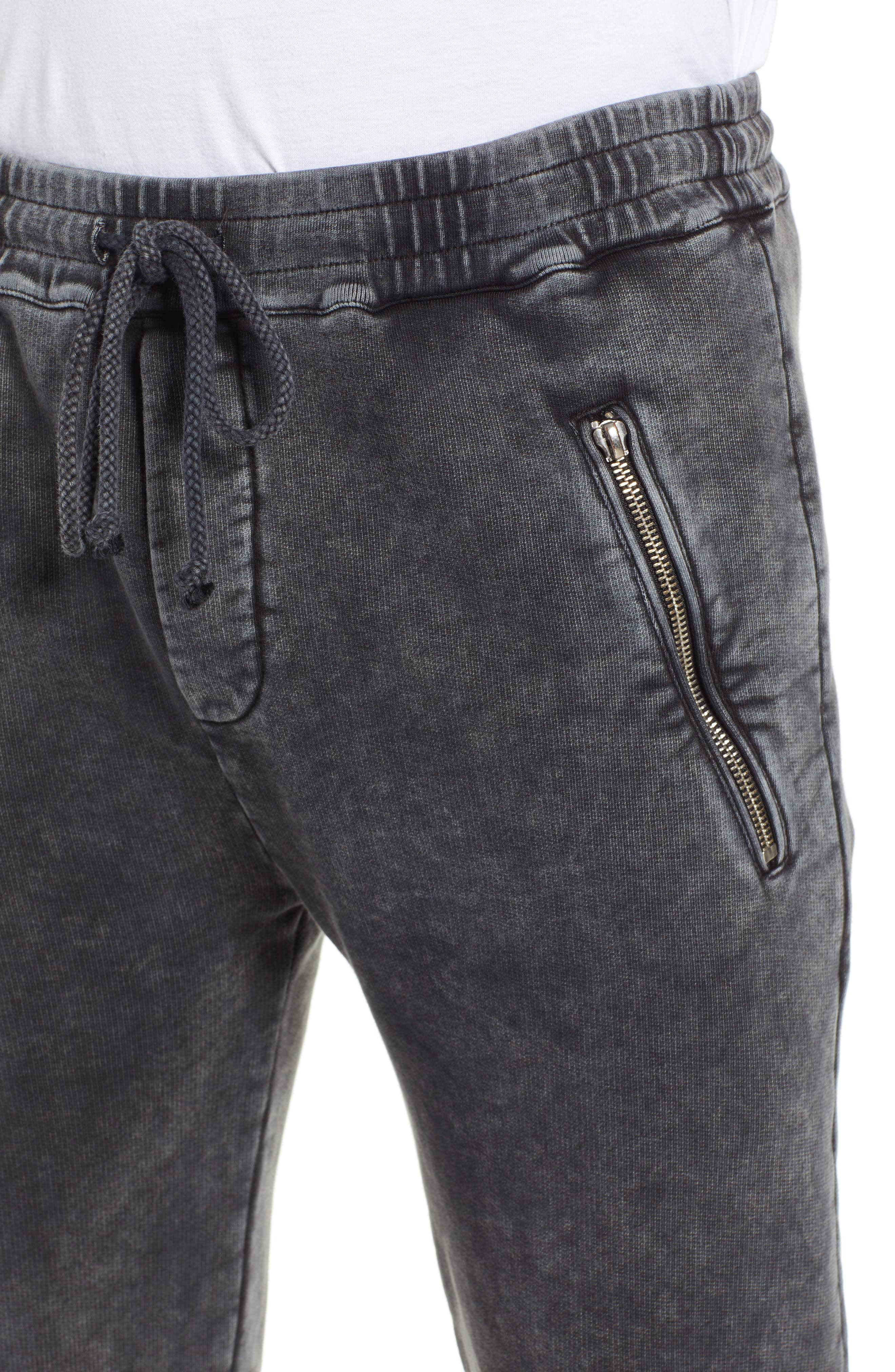 THE KOOPLES, Slim Fit Track Pants, Alternate thumbnail 4, color, BLACK WASHED