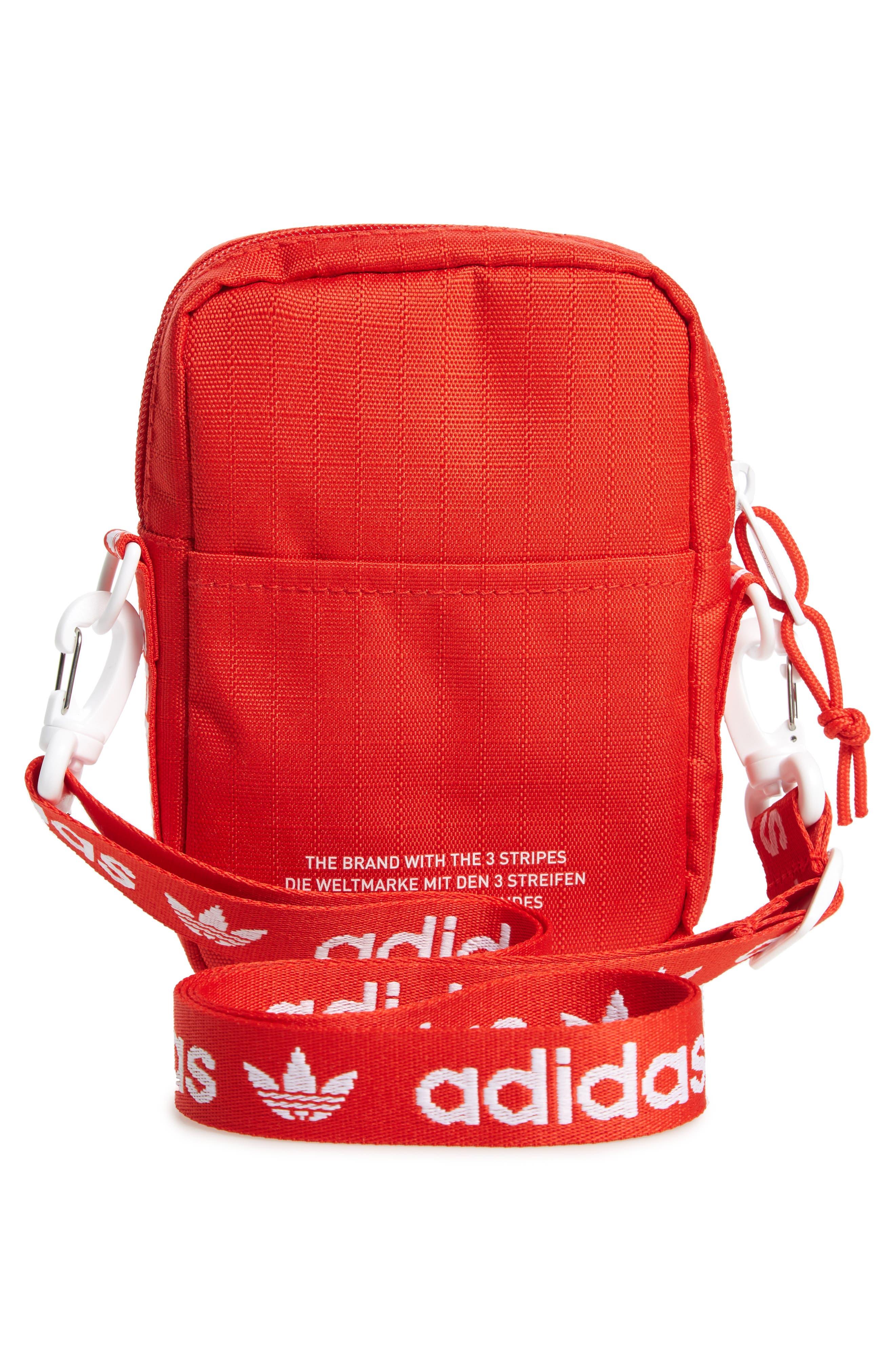 ADIDAS, Logo Belt Bag, Alternate thumbnail 4, color, RED