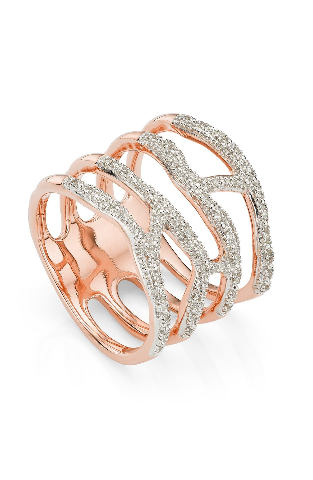 MONICA VINADER, Riva Waterfall Diamond Cocktail Ring, Alternate thumbnail 2, color, ROSE GOLD/ DIAMOND