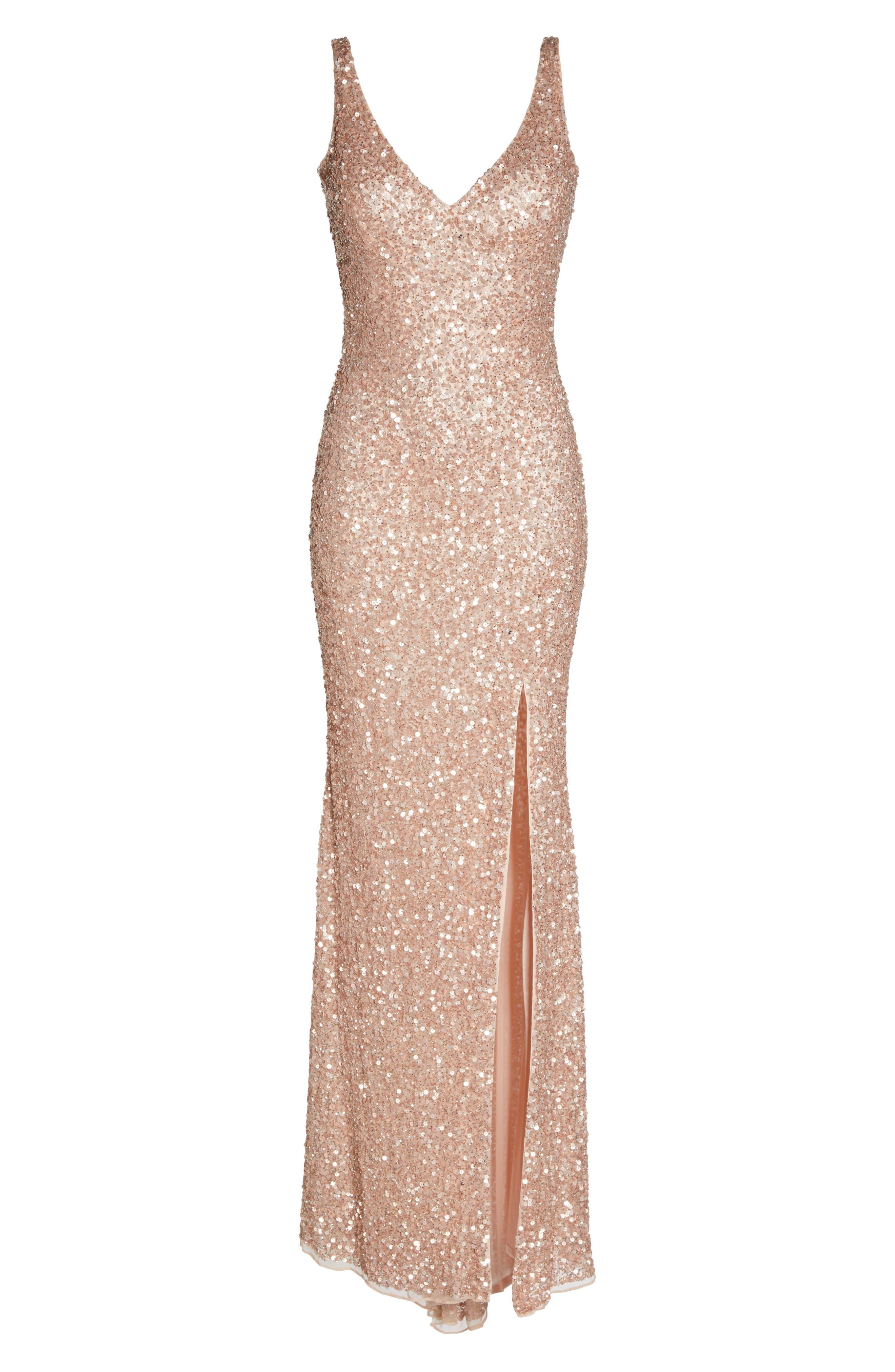 MAC DUGGAL, Sequin Slit Gown, Alternate thumbnail 6, color, ROSE GOLD