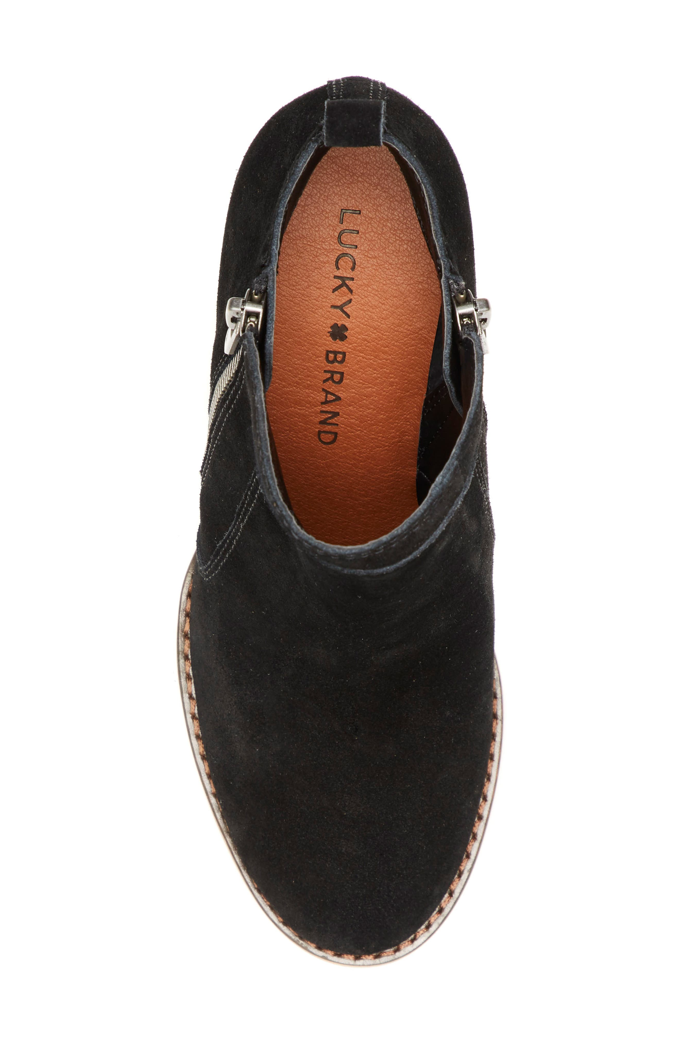 LUCKY BRAND, Yahir Wedge Bootie, Alternate thumbnail 5, color, BLACK SUEDE