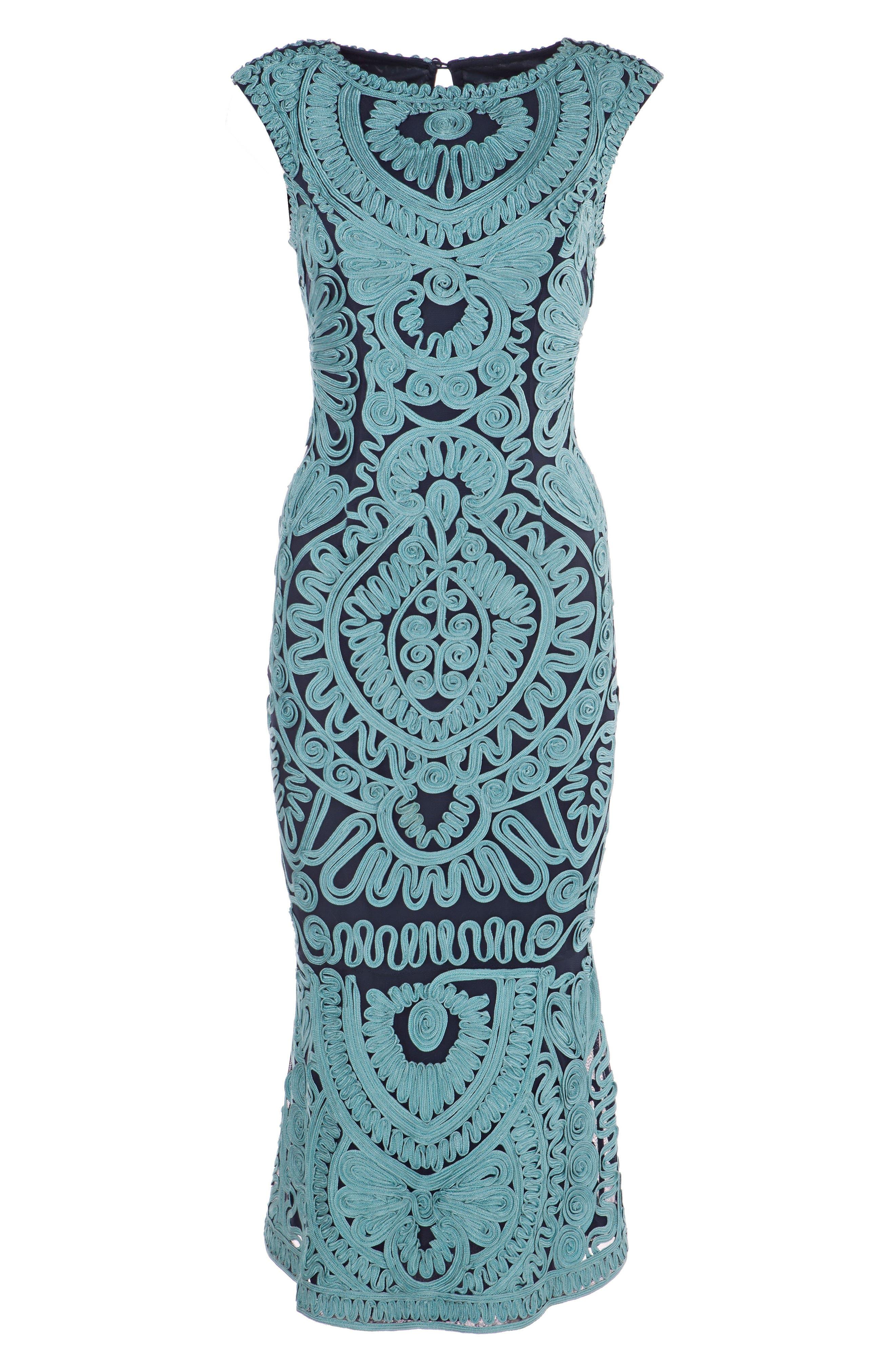 JS COLLECTIONS, Soutache Mesh Dress, Alternate thumbnail 3, color, 338