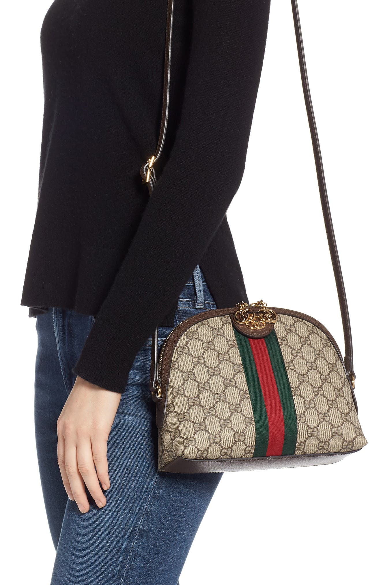 GUCCI, GG Supreme Canvas Shoulder Bag, Alternate thumbnail 2, color, BEIGE EBONY/ NERO/ RED